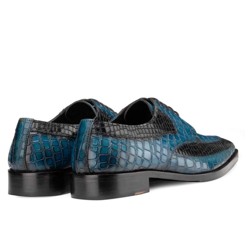Ross Derby Shoes in Blue & Black Croc