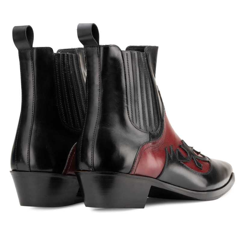 Chavez Chelsea Cowboy Boots in Black Red