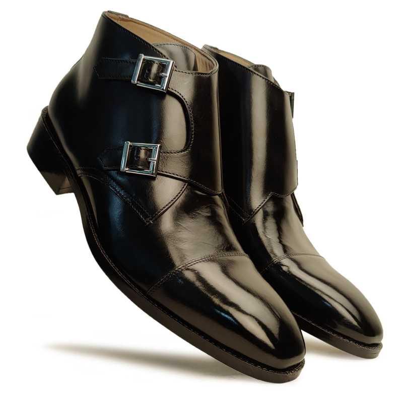 Bond Double Monk Captoe Boots in Black - Escaro Royale