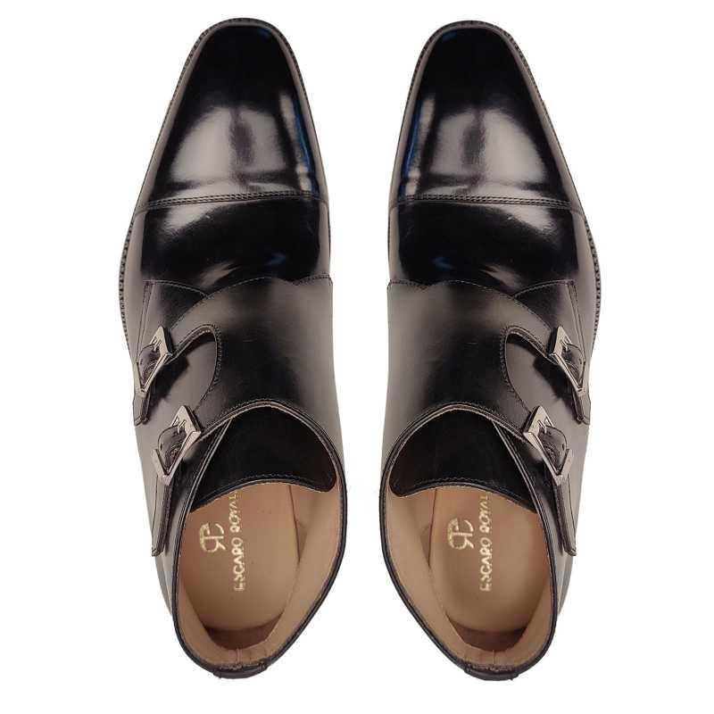 Bond Double Monk Captoe Boots in Black