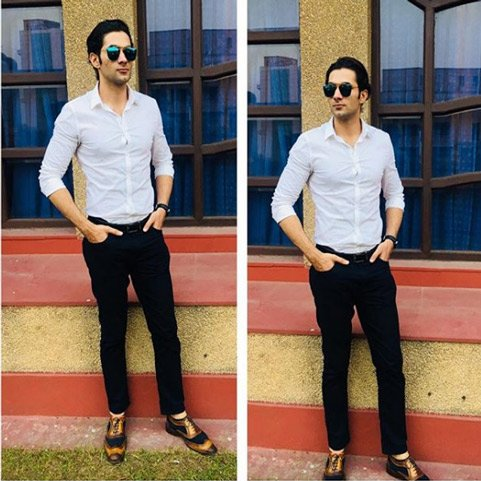 Amit Dahiya wearing Tan Blue Wingtip London Brogues