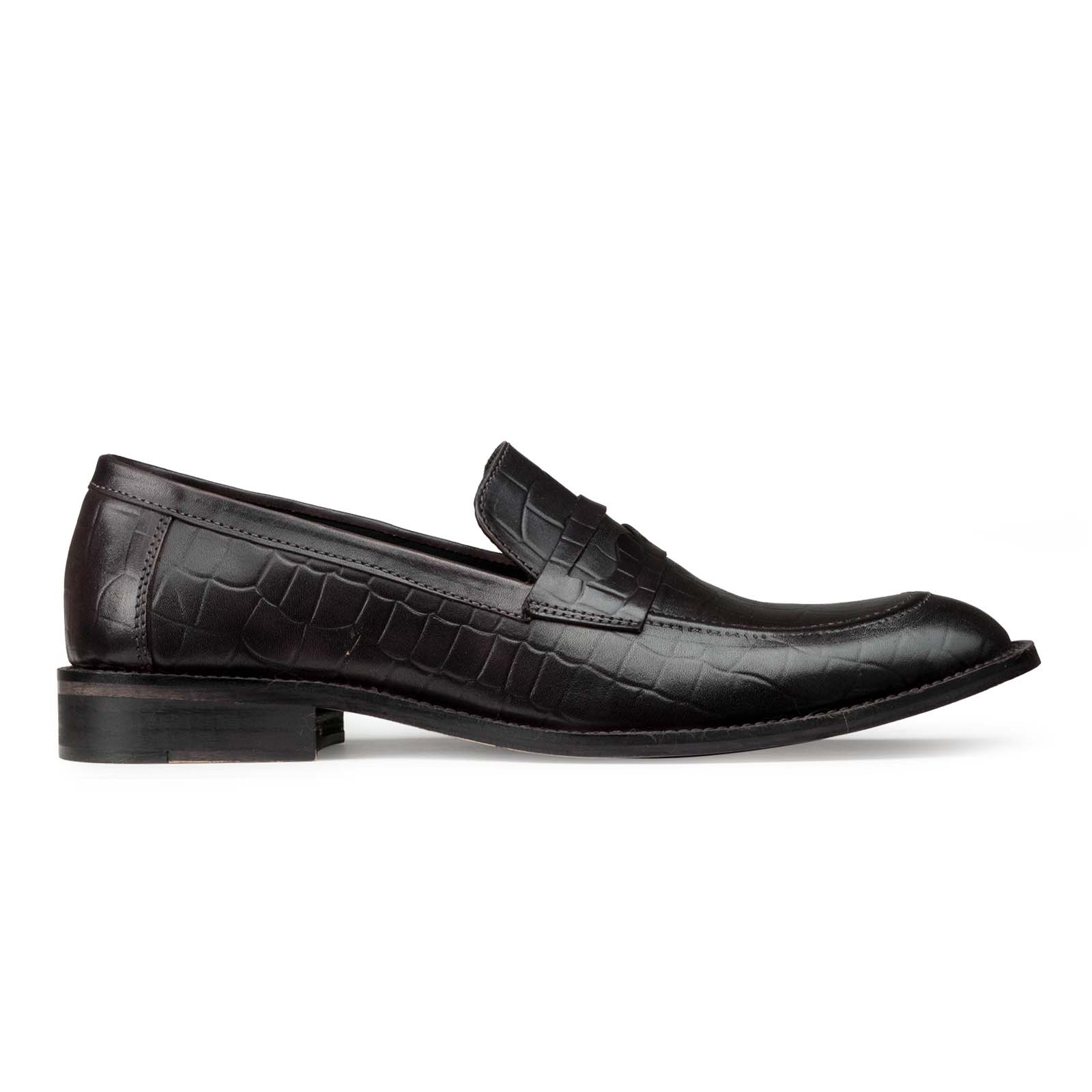 Black Croc-Embossed Slip-on