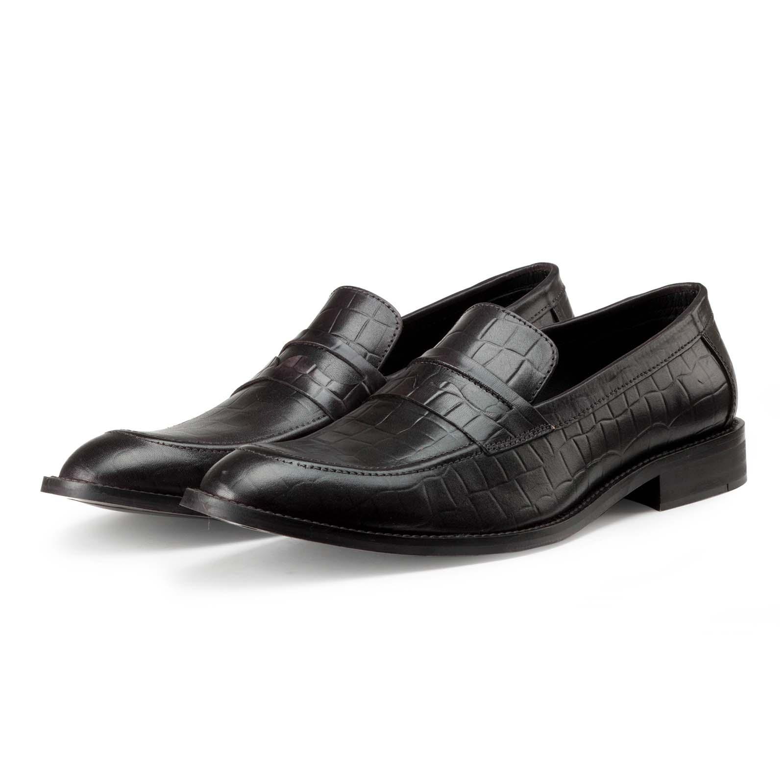 Black Croc-Embossed Slip-on