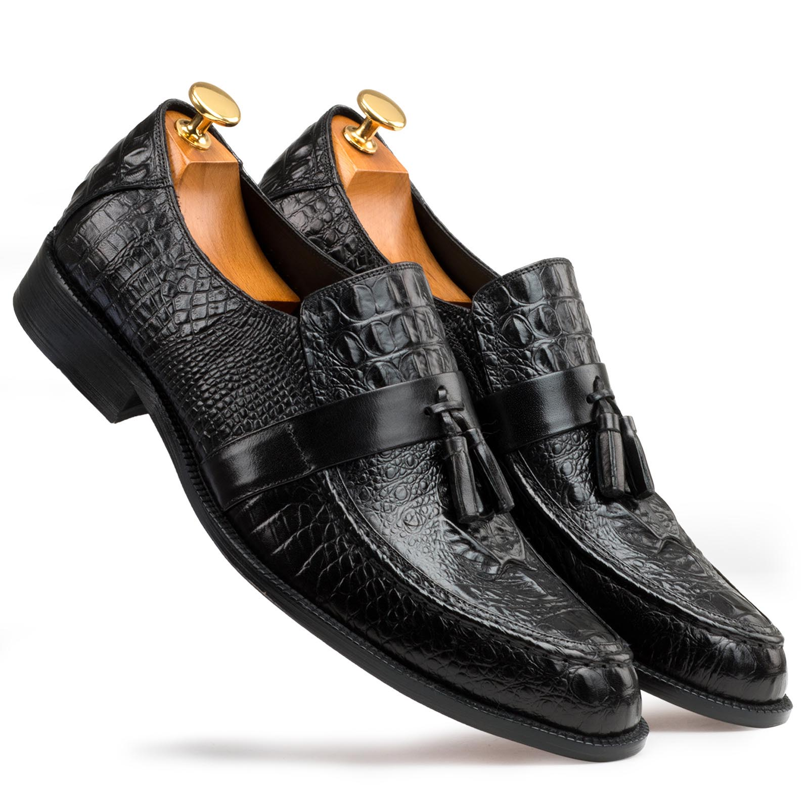 Black Croc-Textured Tassel Loafers