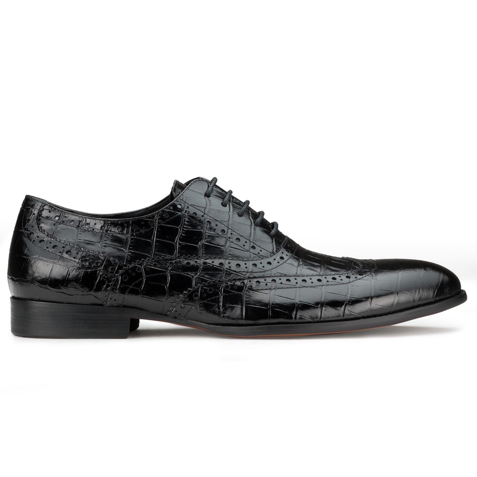 Black Croc-textured Shoes