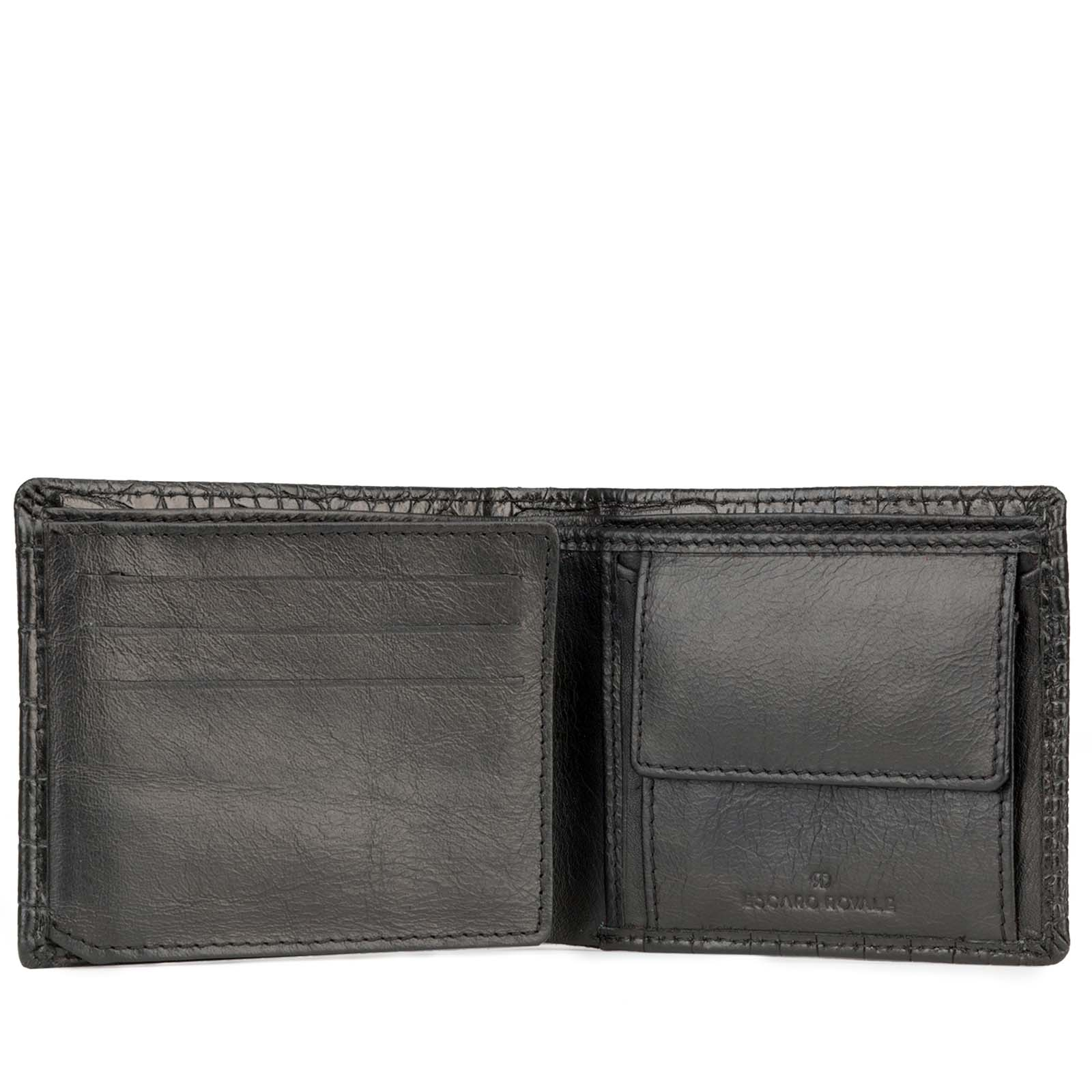 Black Croco-Print Leather Mens Wallet