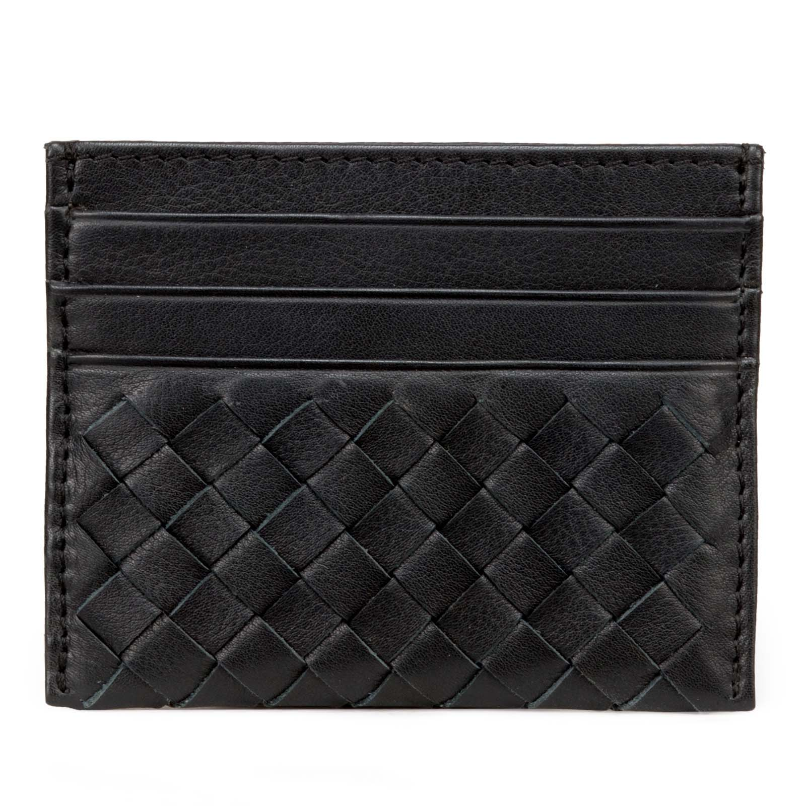 Black Leather Mens Basket Weave Design Luxury Card Holder