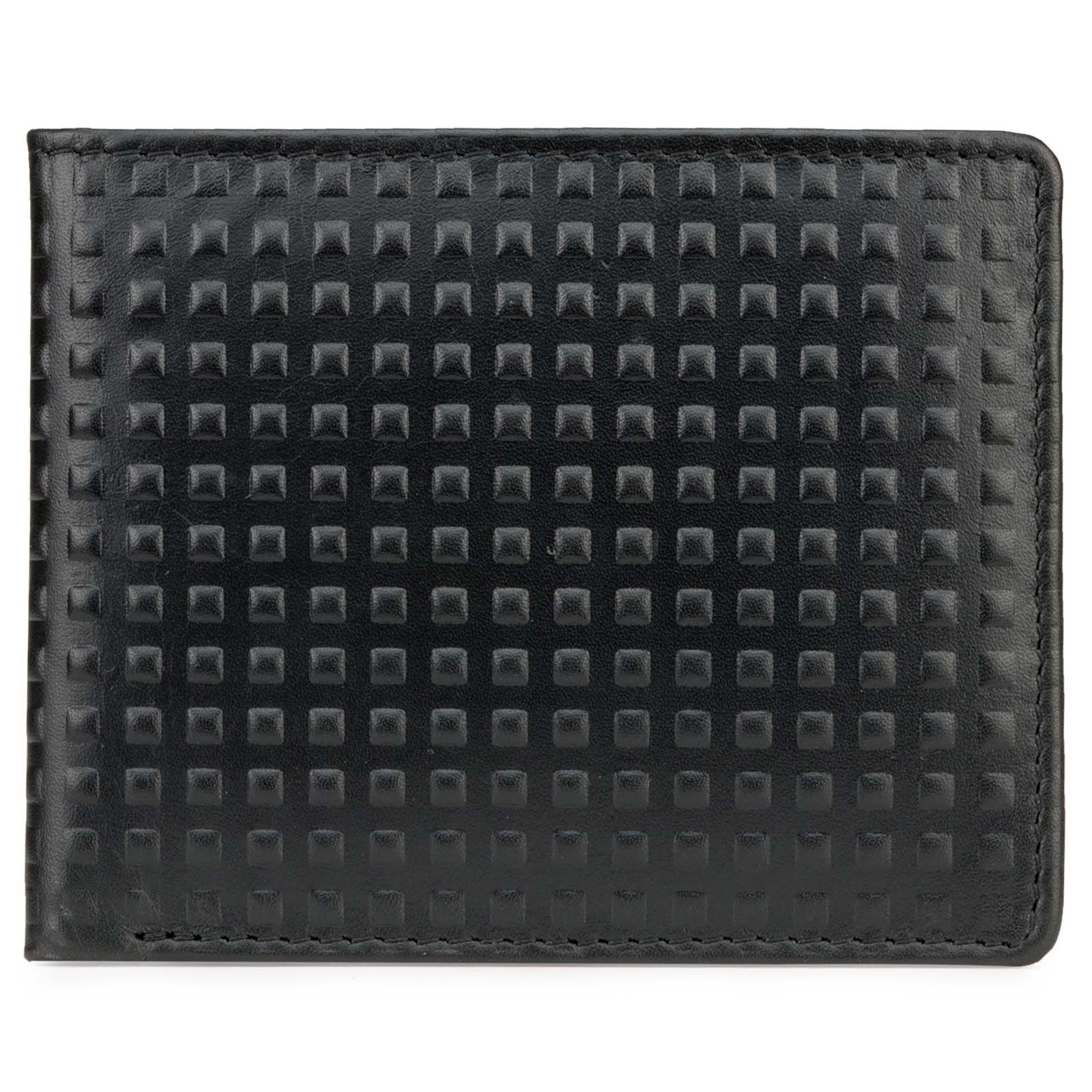 Black Square Bubble Pattern Leather Mens Wallet