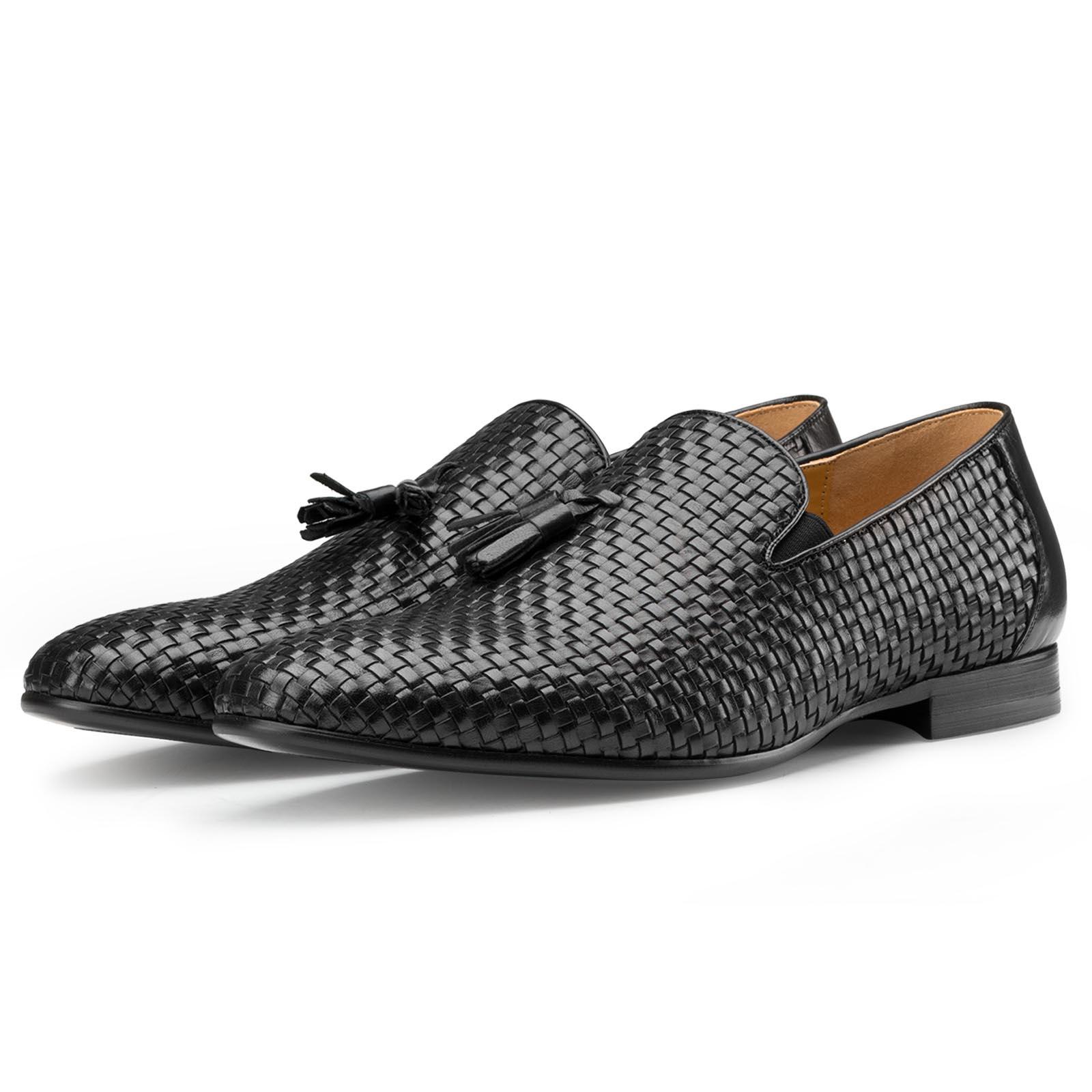 Black Weaved Tassel Loafers