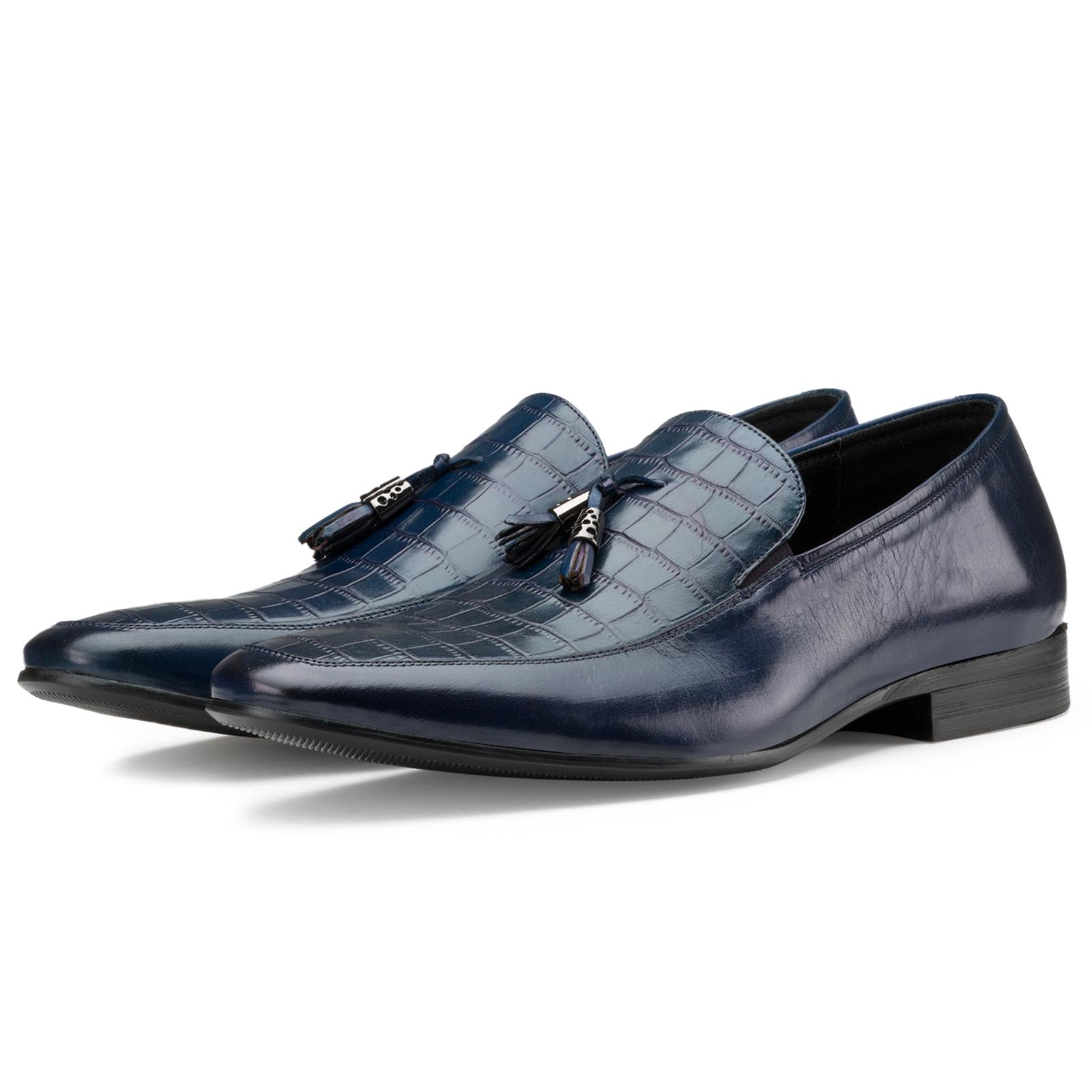 Blue Croc-Embossed Tassel Loafers