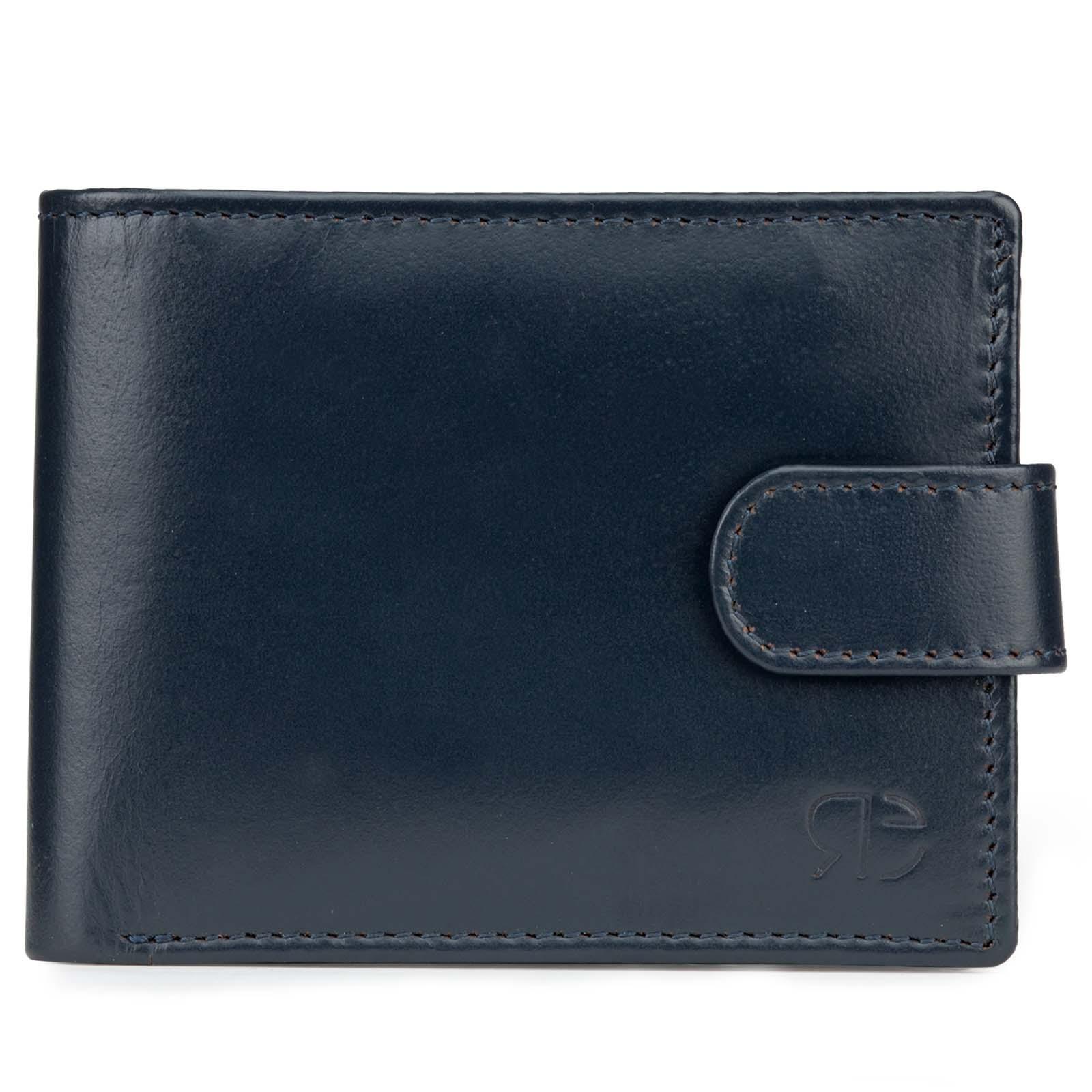 Blue Plain Leather Mens Wallet with Flap Button Closure