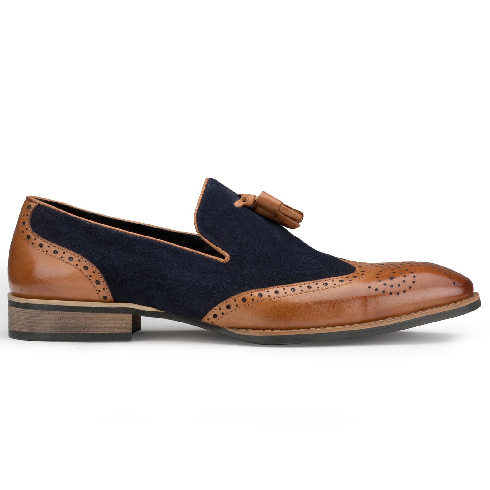 Blue-Tan Wingtip Tassel Loafers