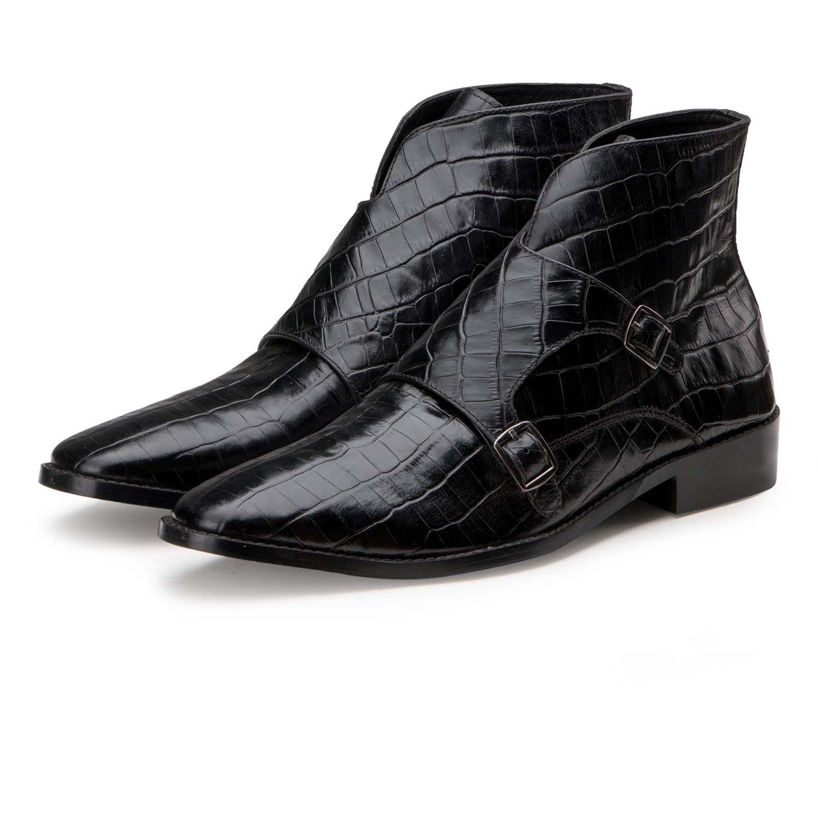 """Branco"" Crocodile-Textured Double-Monk Black Ankle Boots"