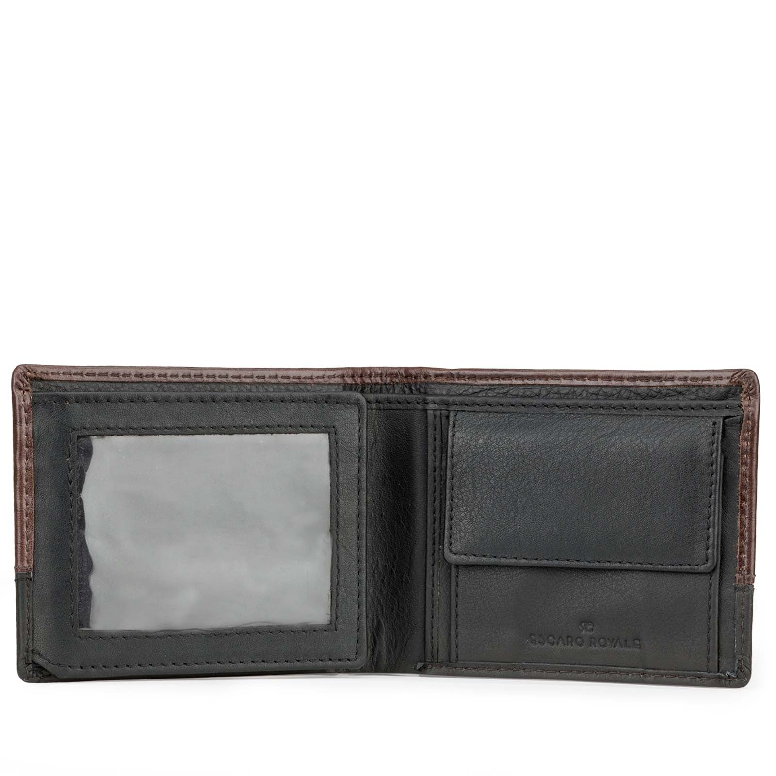 Brown-Black Textured Leather Mens Wallet