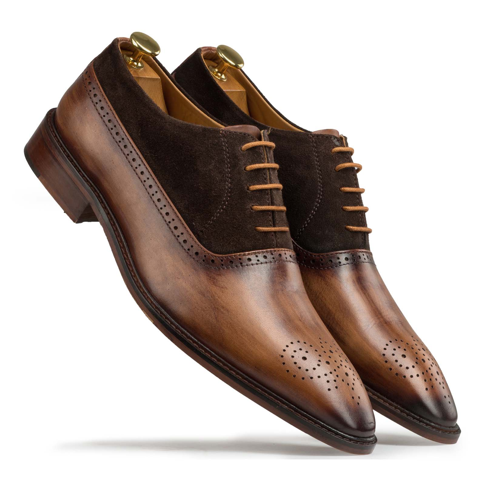 Brown-Tan Medallion suede oxfords