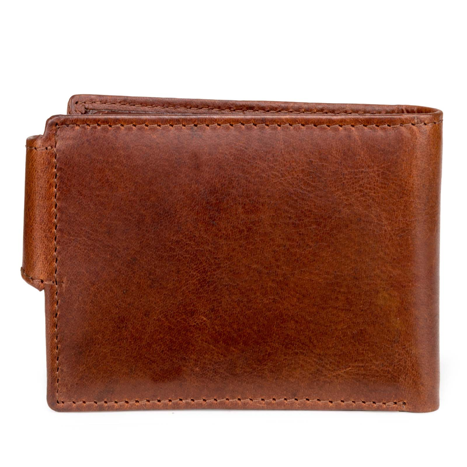 Brown Textured Leather Mens Wallet with Flap Button Closure