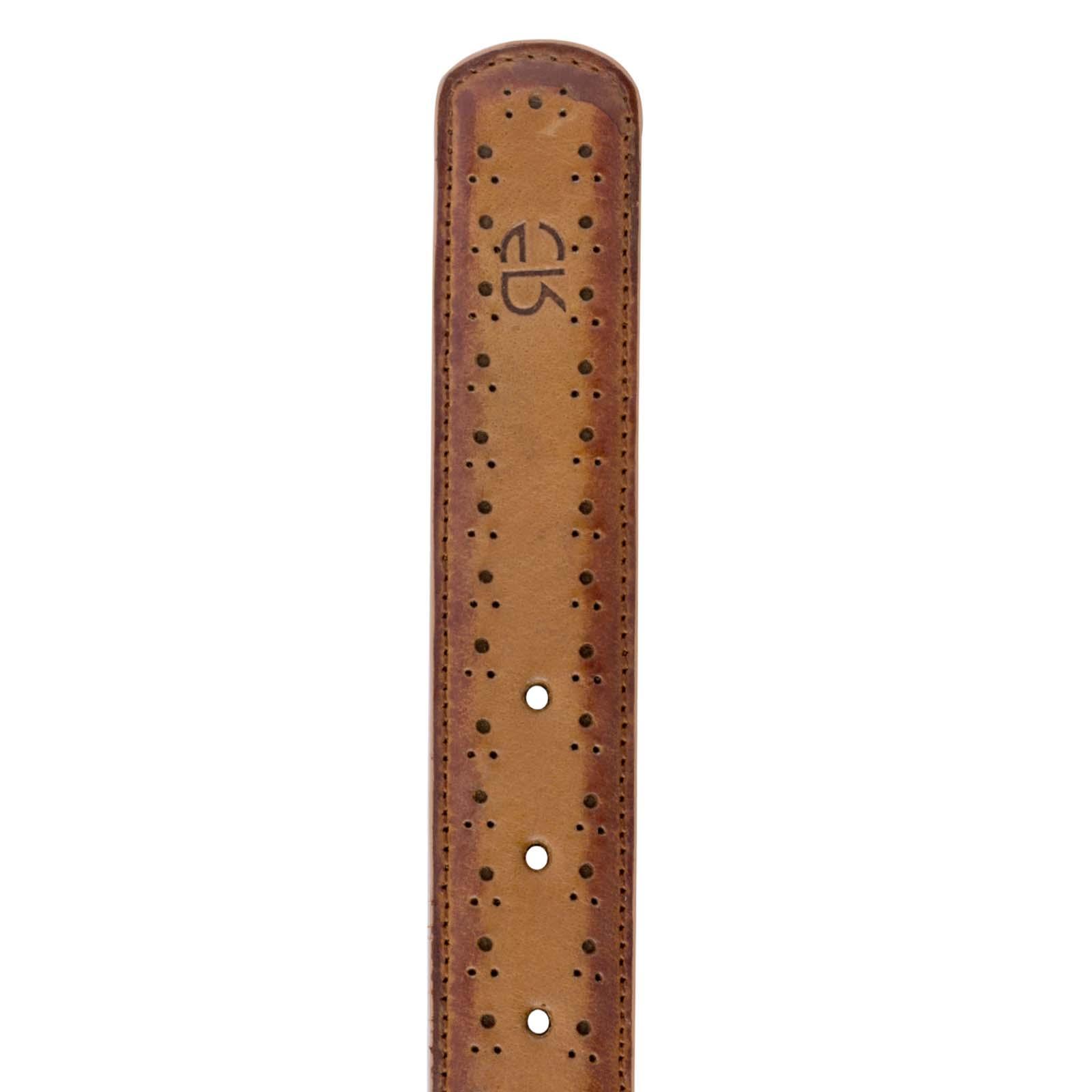Brown burnished Brogue Leather belt