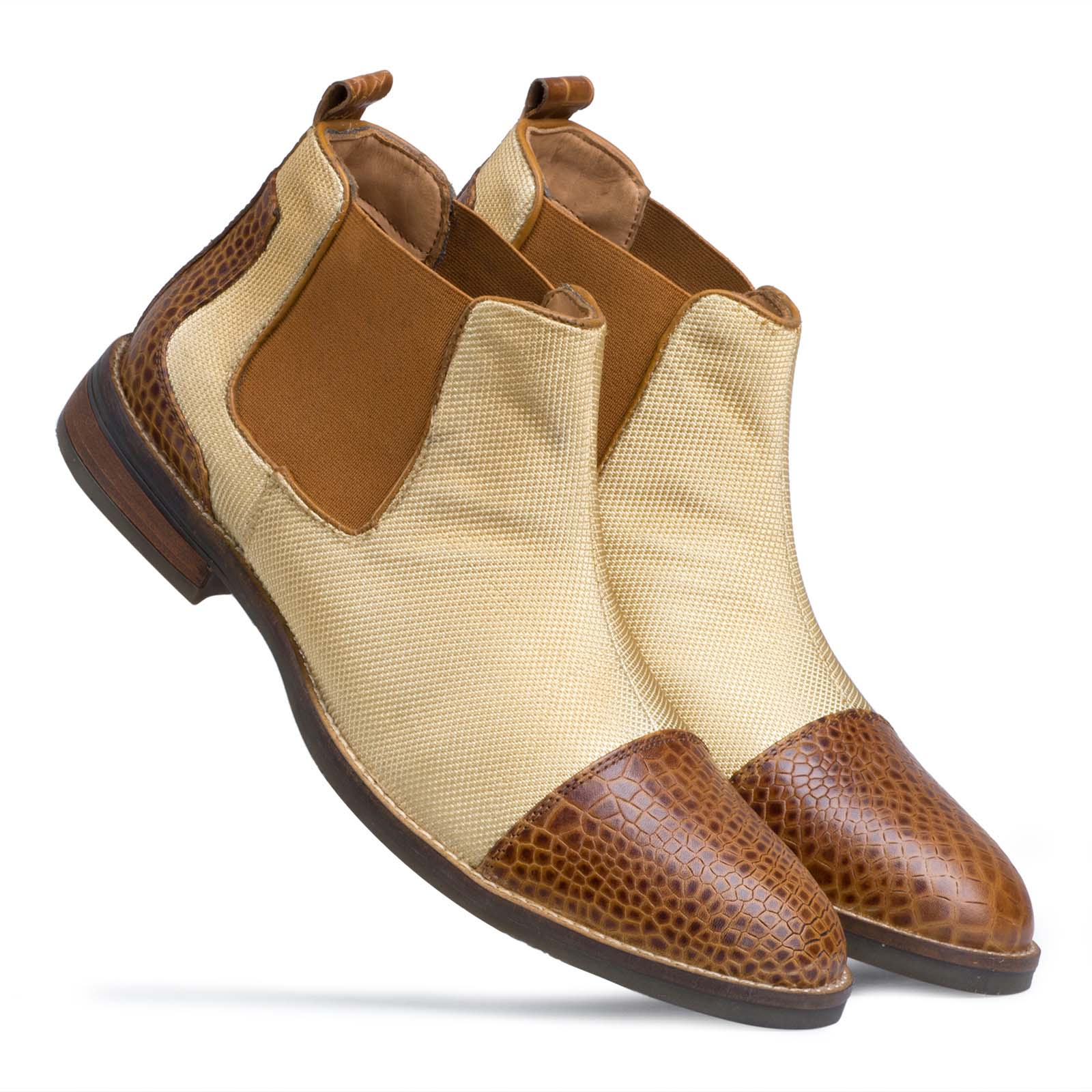 Camel-Brown Fabric Structured Chelsea boots