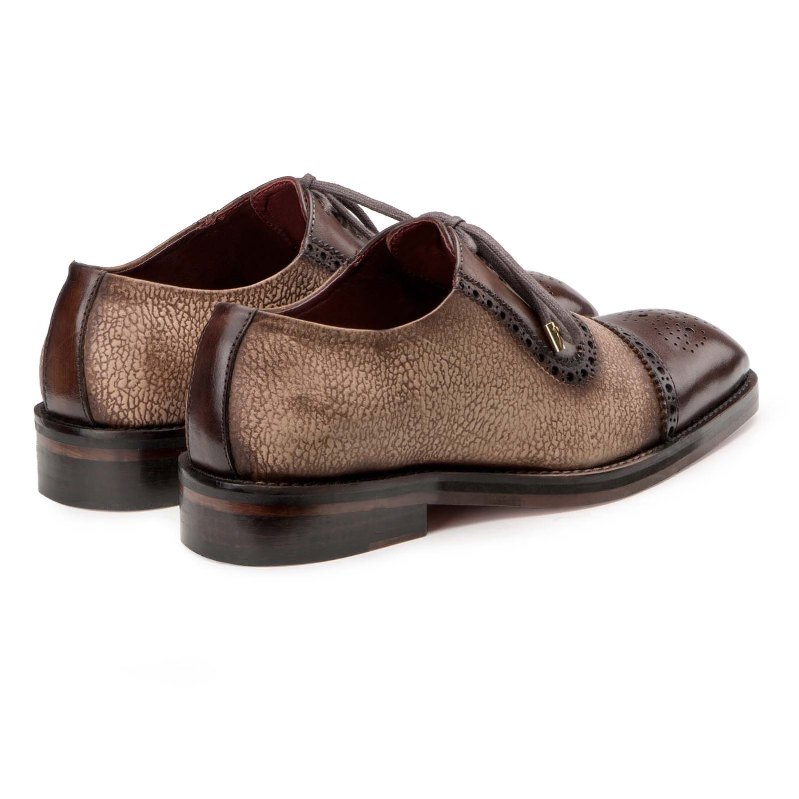 """Carlo"" Medallion Captoe Dual-Pattern Brown Oxford"