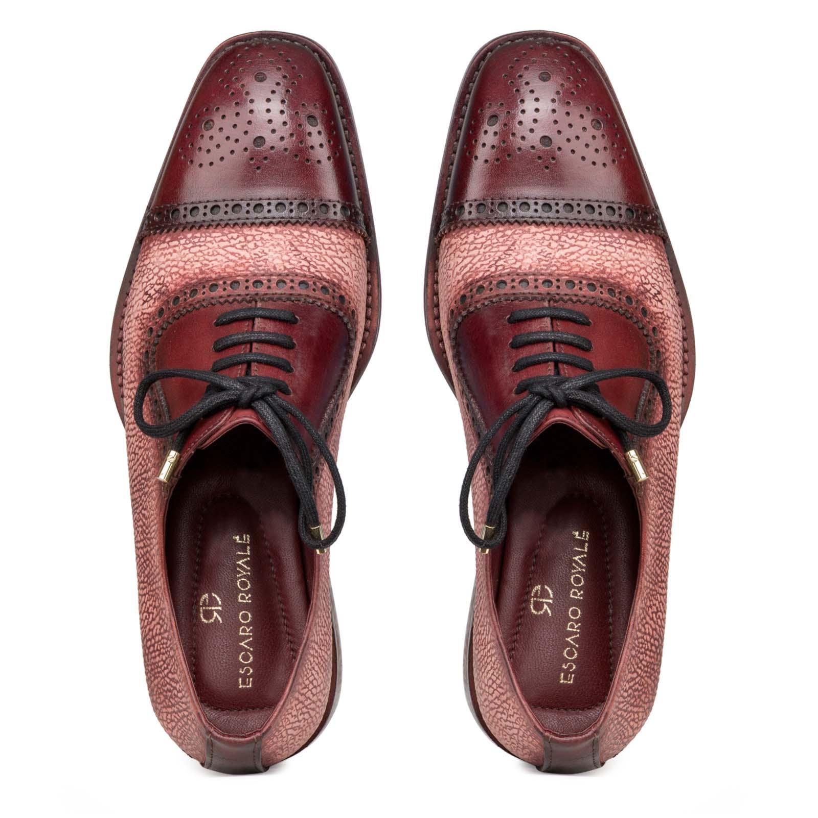 """Carlo"" Medallion Captoe Dual-Textured Cherry Oxfords"