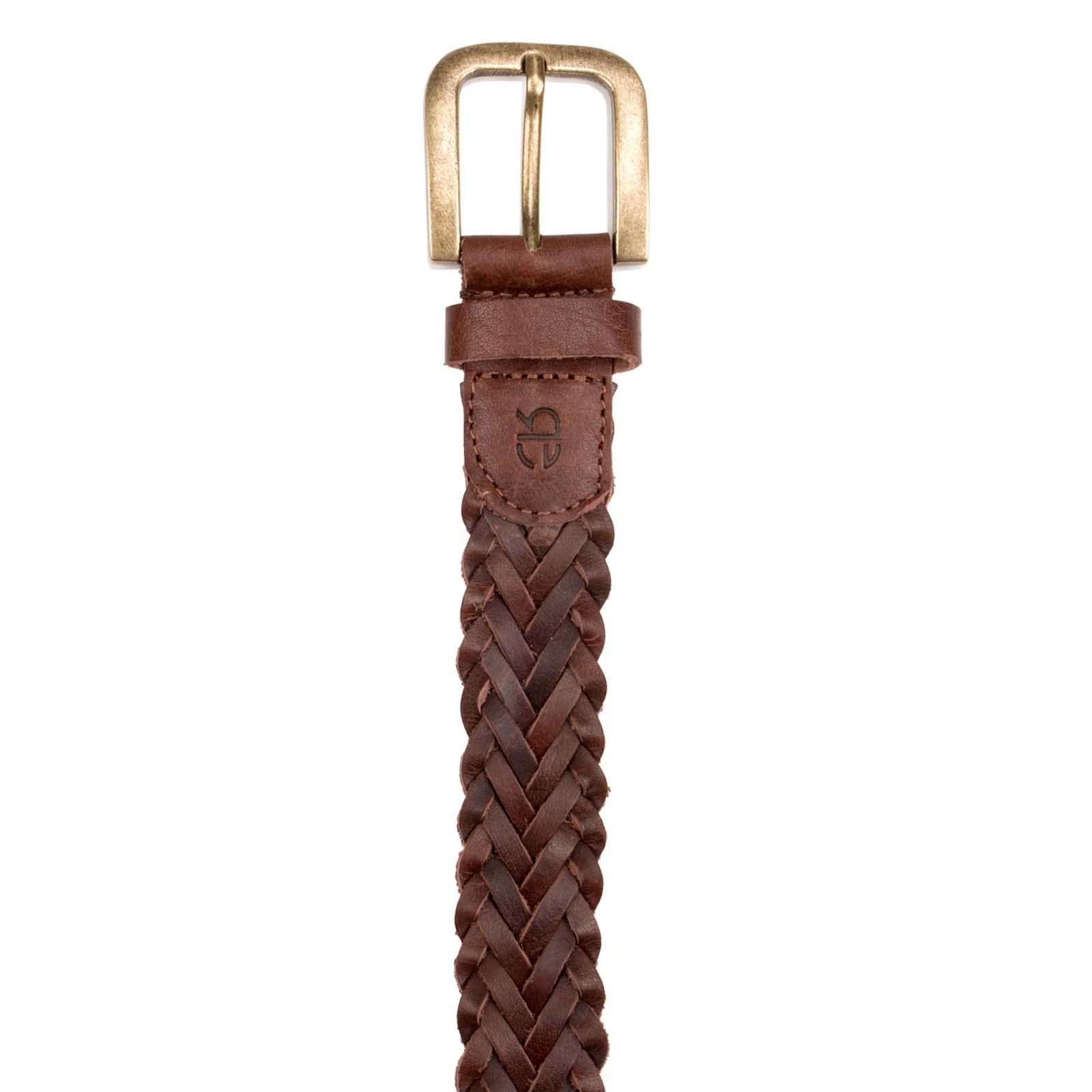 Dark Brown Round Braided Leather Belt