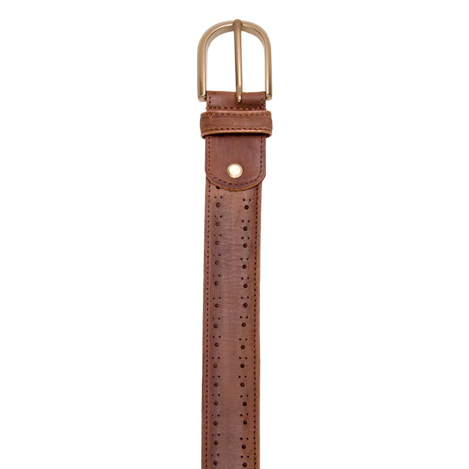 Tan Brogue Leather Belt
