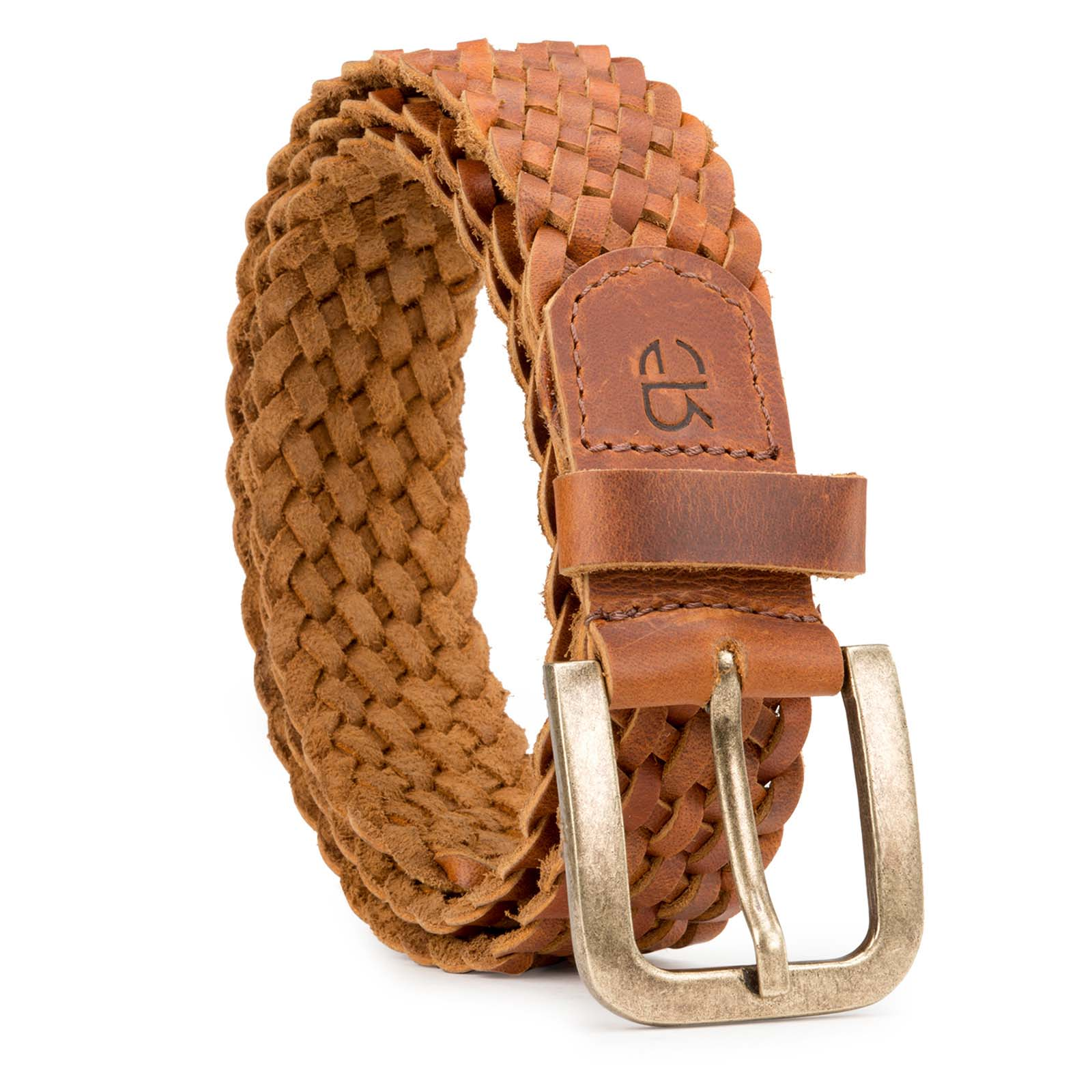 Tan Fine-Braided Woven Leather Belt