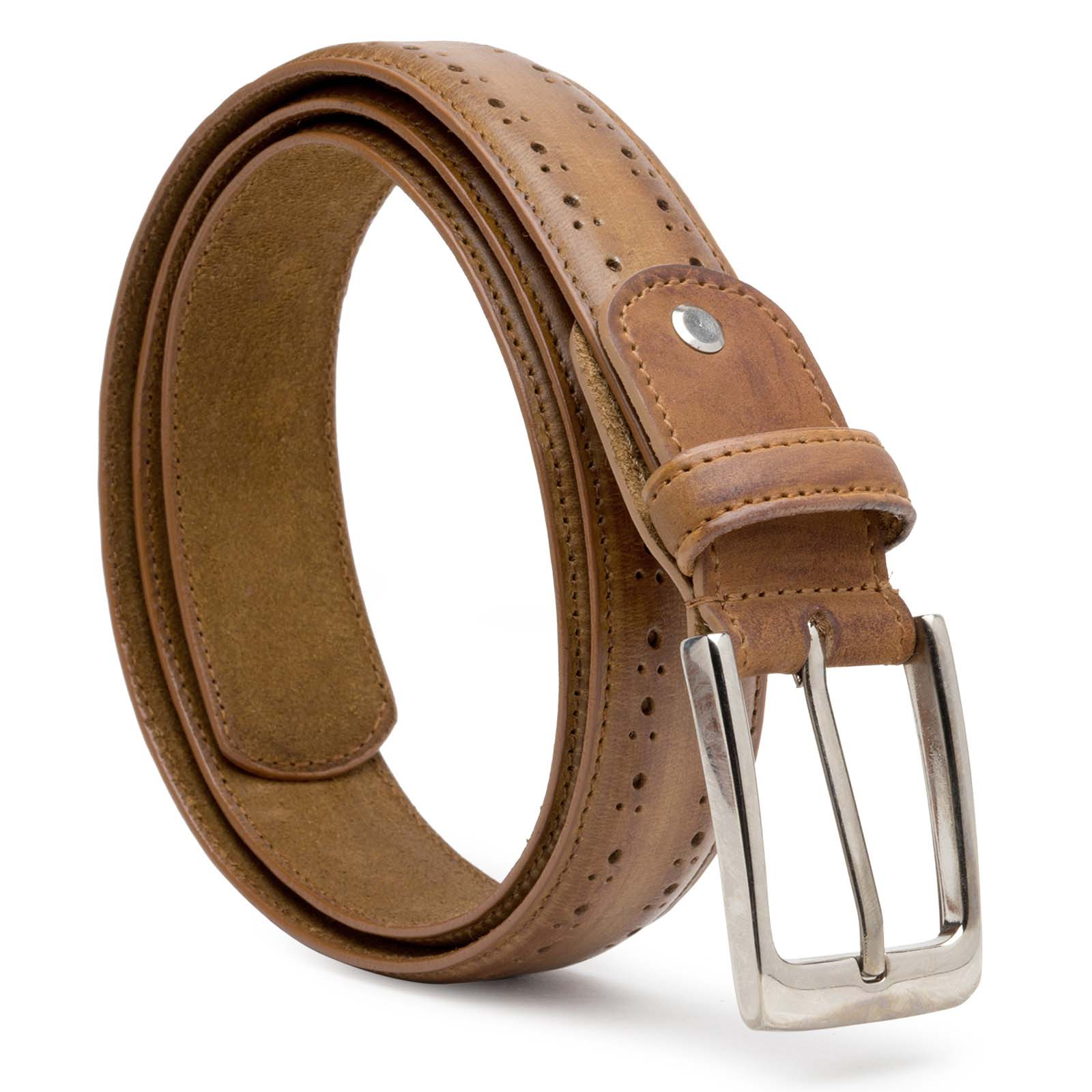 Brown Wooden finished Brougue Leather Belts