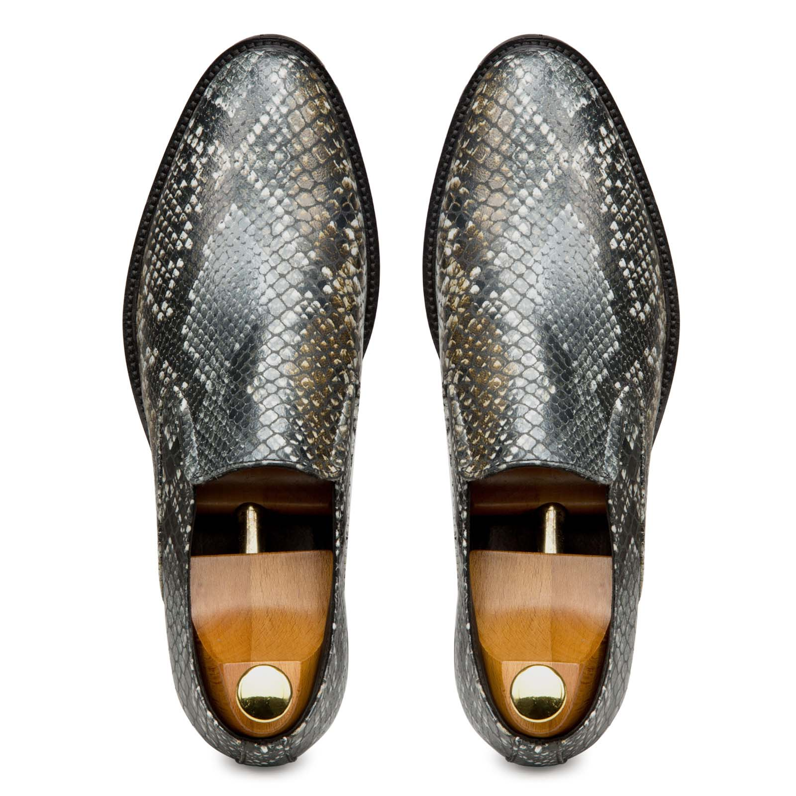 Rare Snake Foil-Printed Leather Slipons