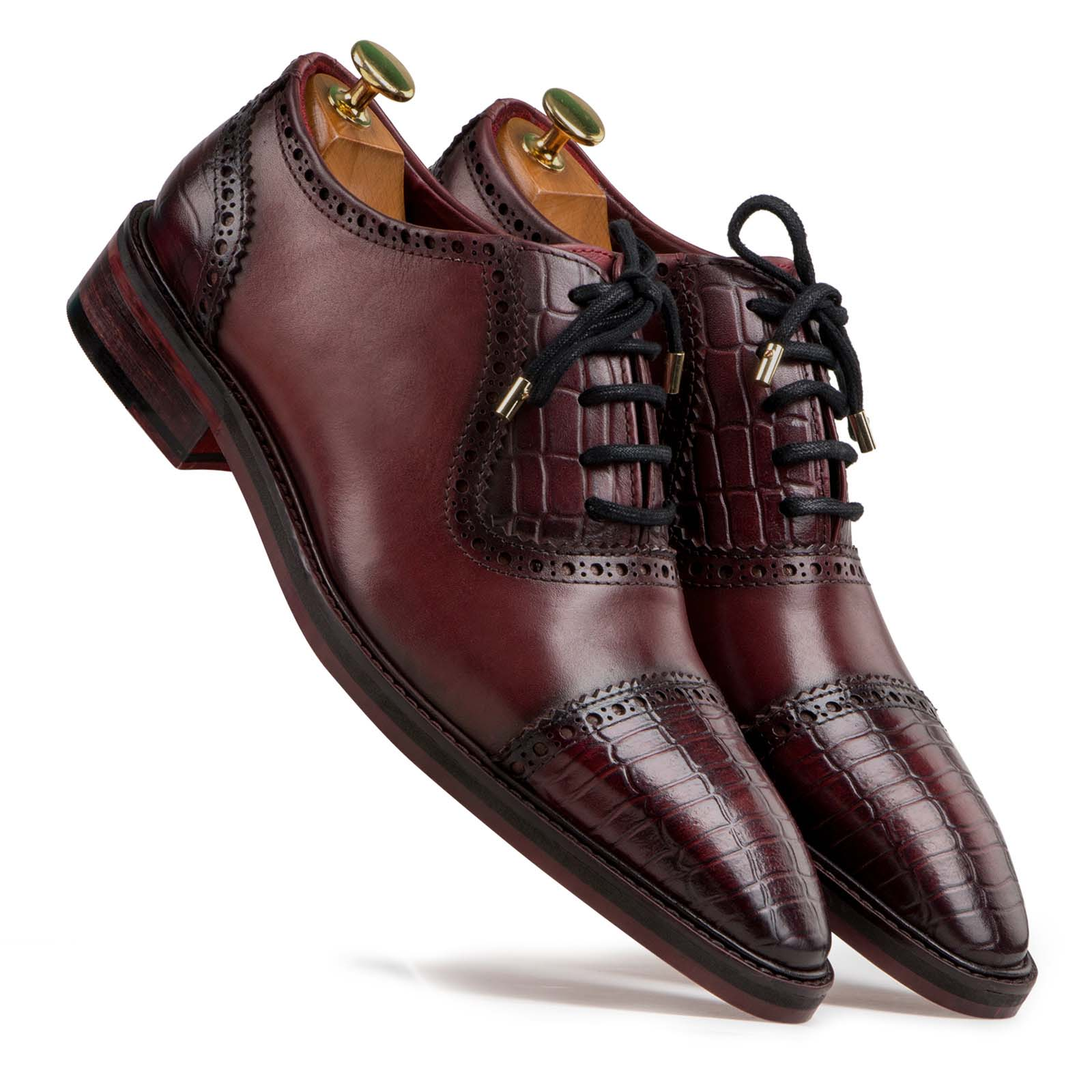 """Hagen"" Croc CapToe Wine Oxfords"