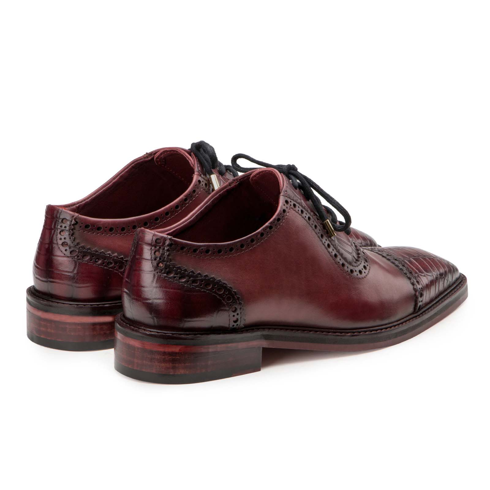 """Hagen"" Croc CapToe Wine Oxford"