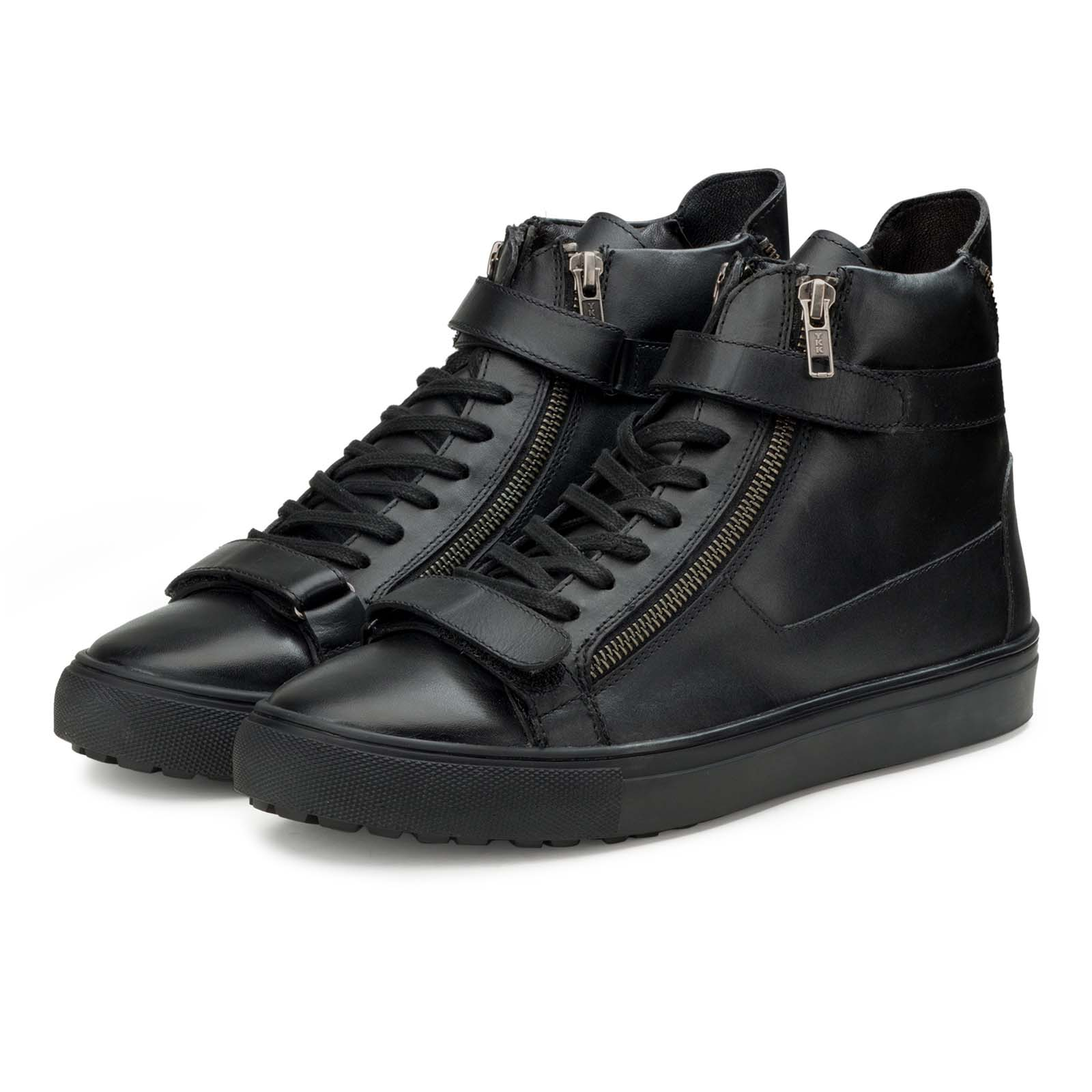 High-Top Black Leather Sneakers