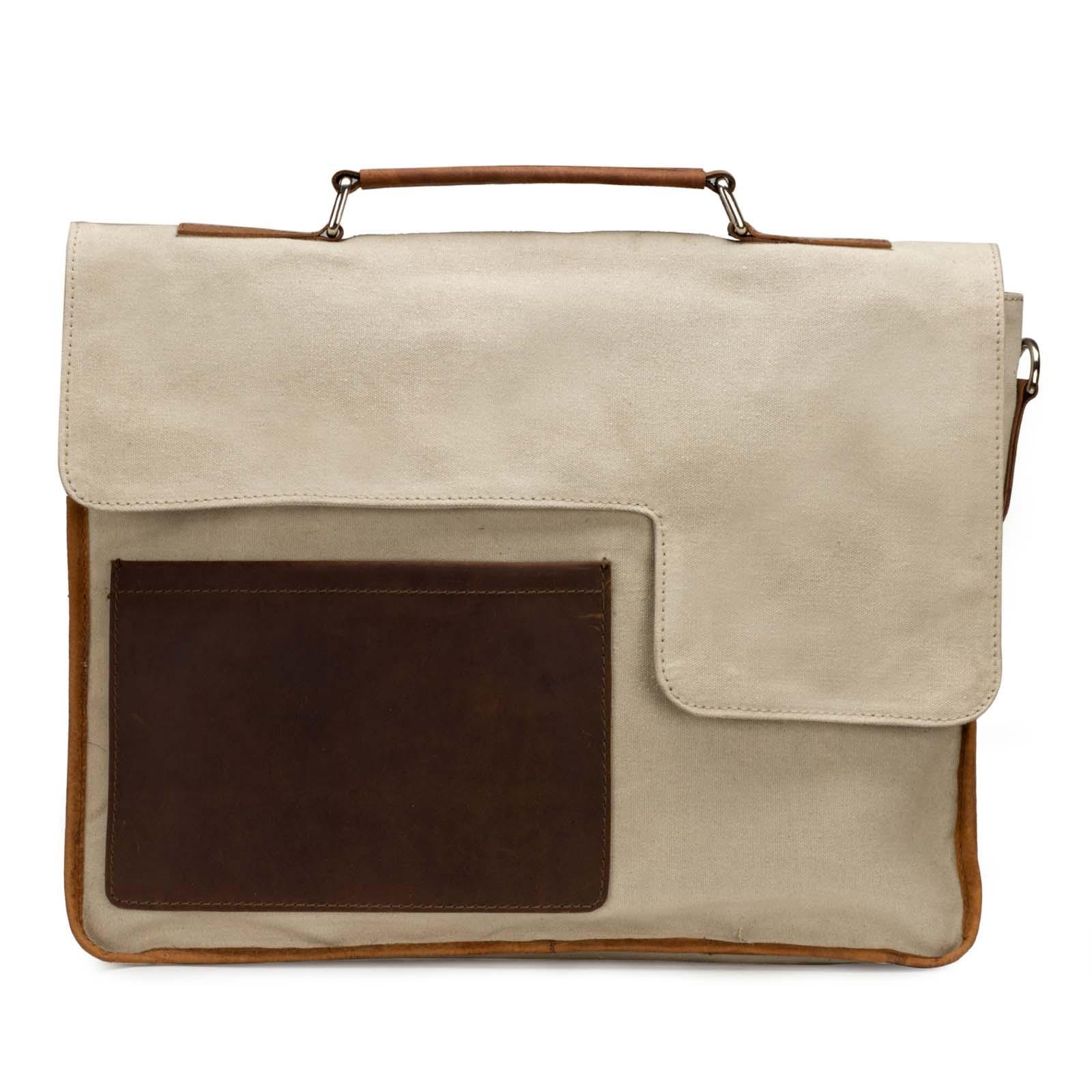 Khaki Canvas-Leather Messenger Bag