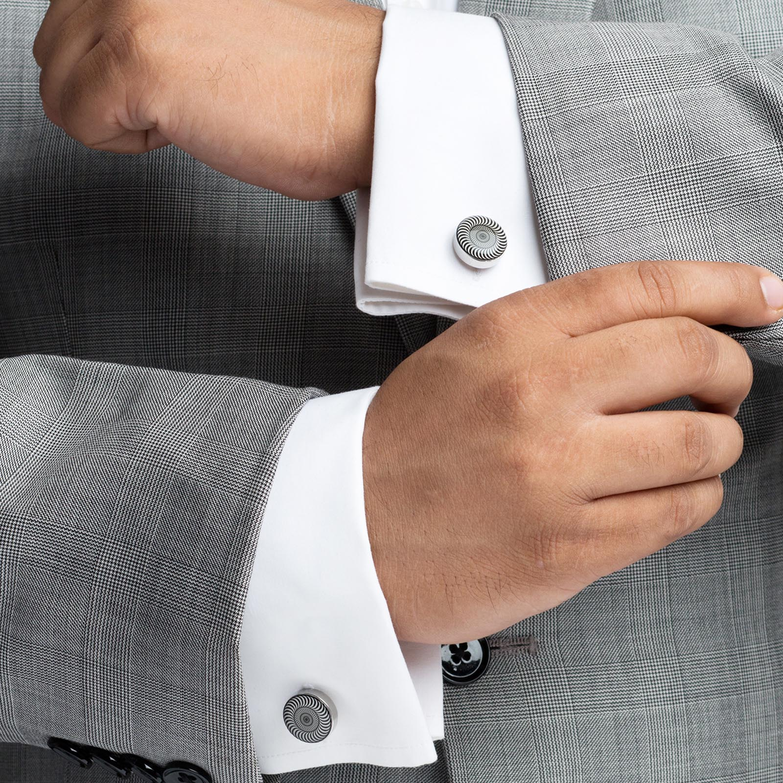 Men's Silver Plated Metal Printing Cufflinks