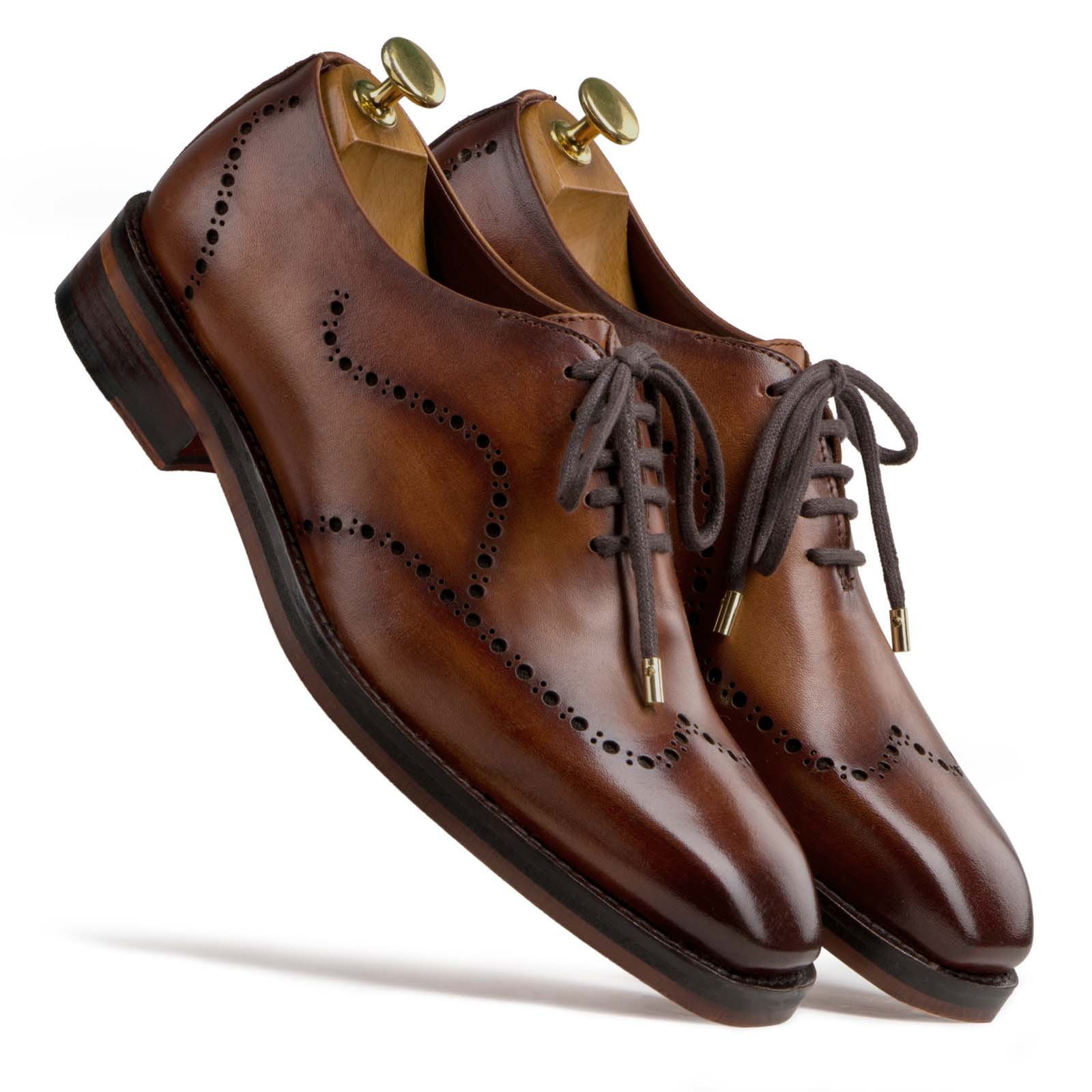 """Michael"" Wholecut Dark Tan Wingtip Oxfords"