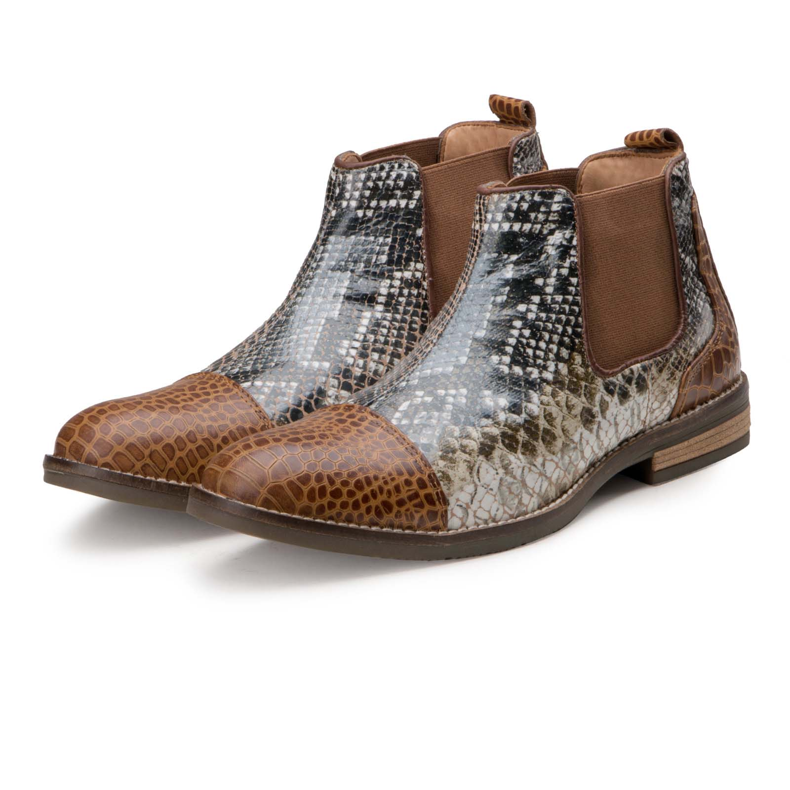 """Serpent"" Snake and Crocodile Foiled Chelsea Boots"