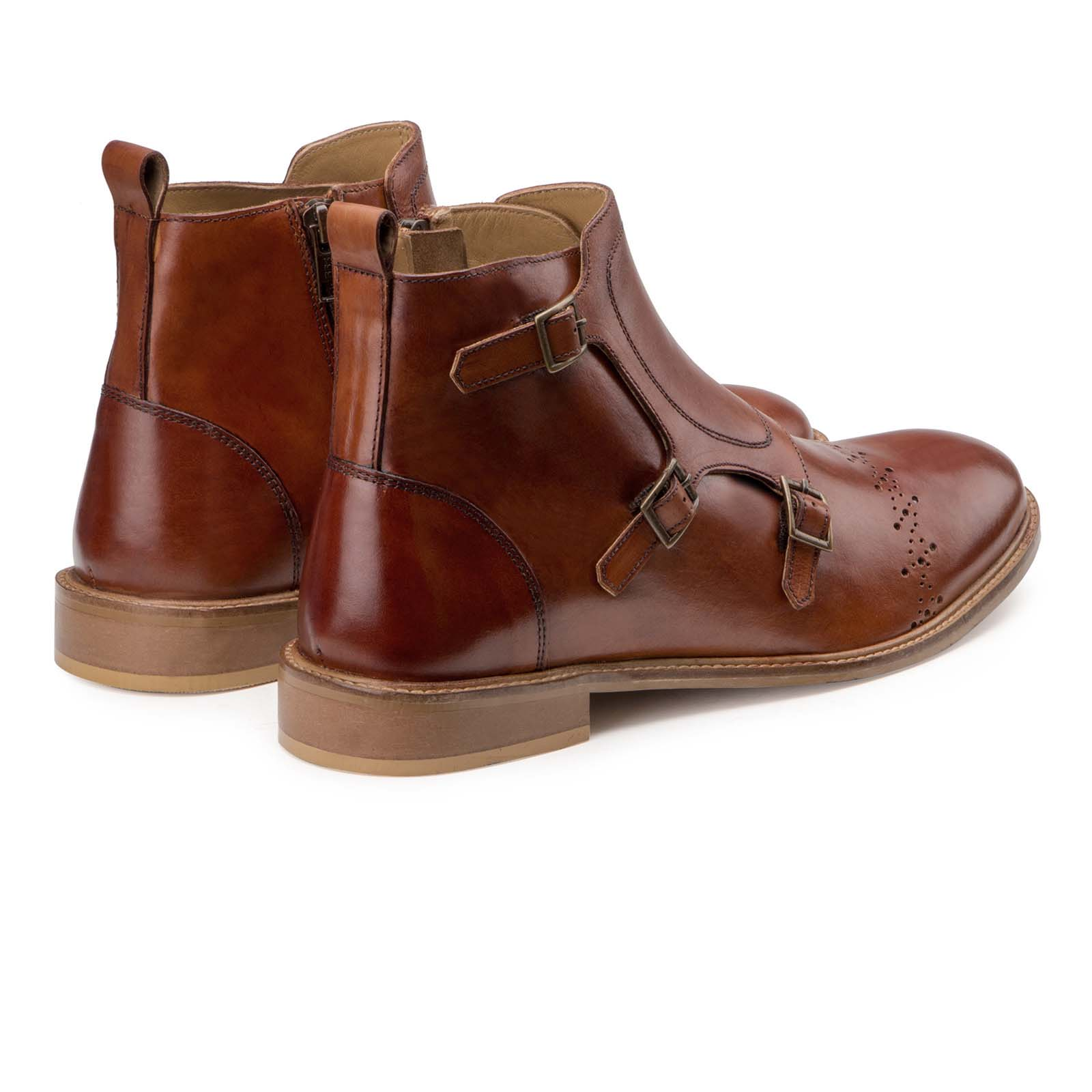 """Sonny"" Tan Triple Monkstrap Ankle Boots"