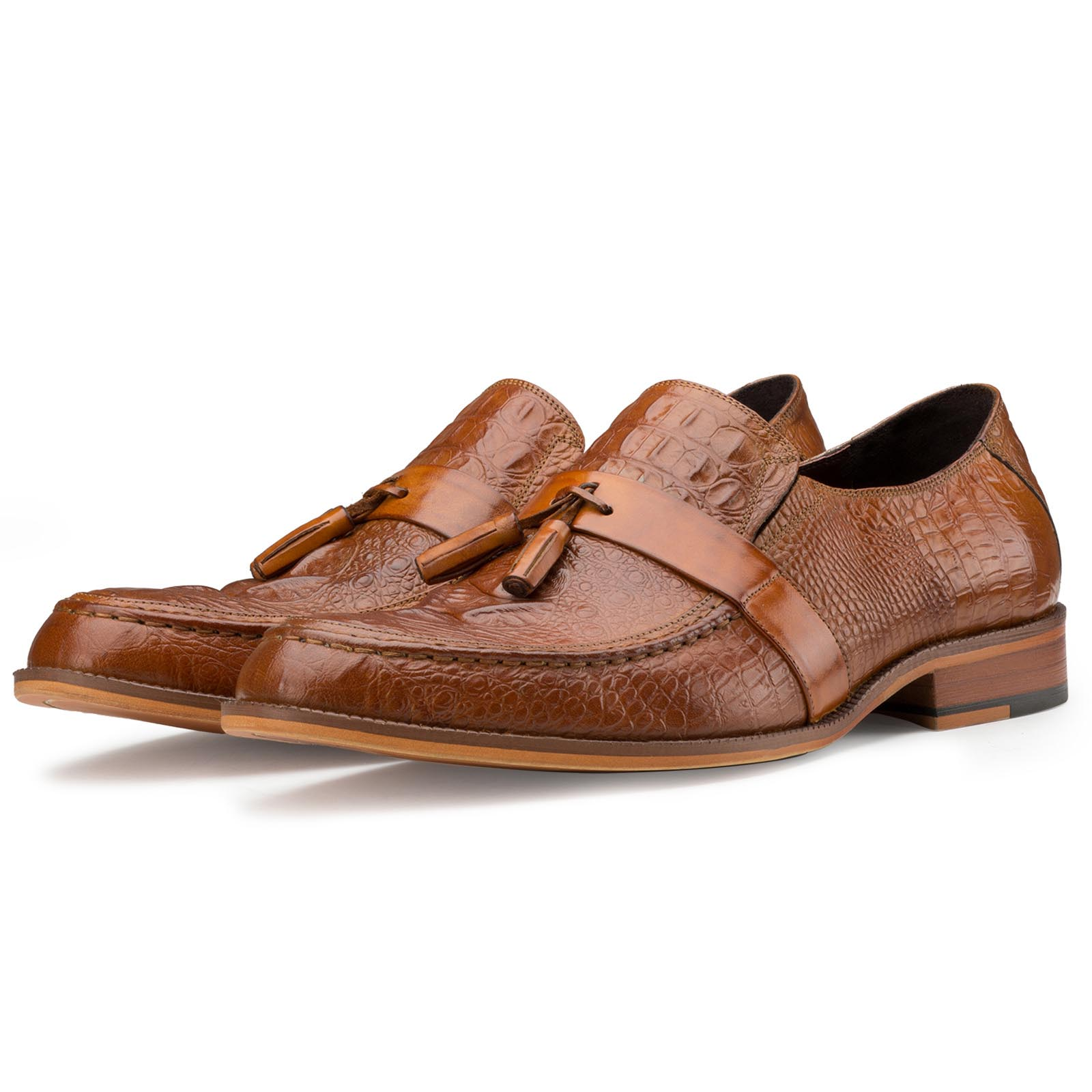 Tan Croc-Textured Tassel Loafers