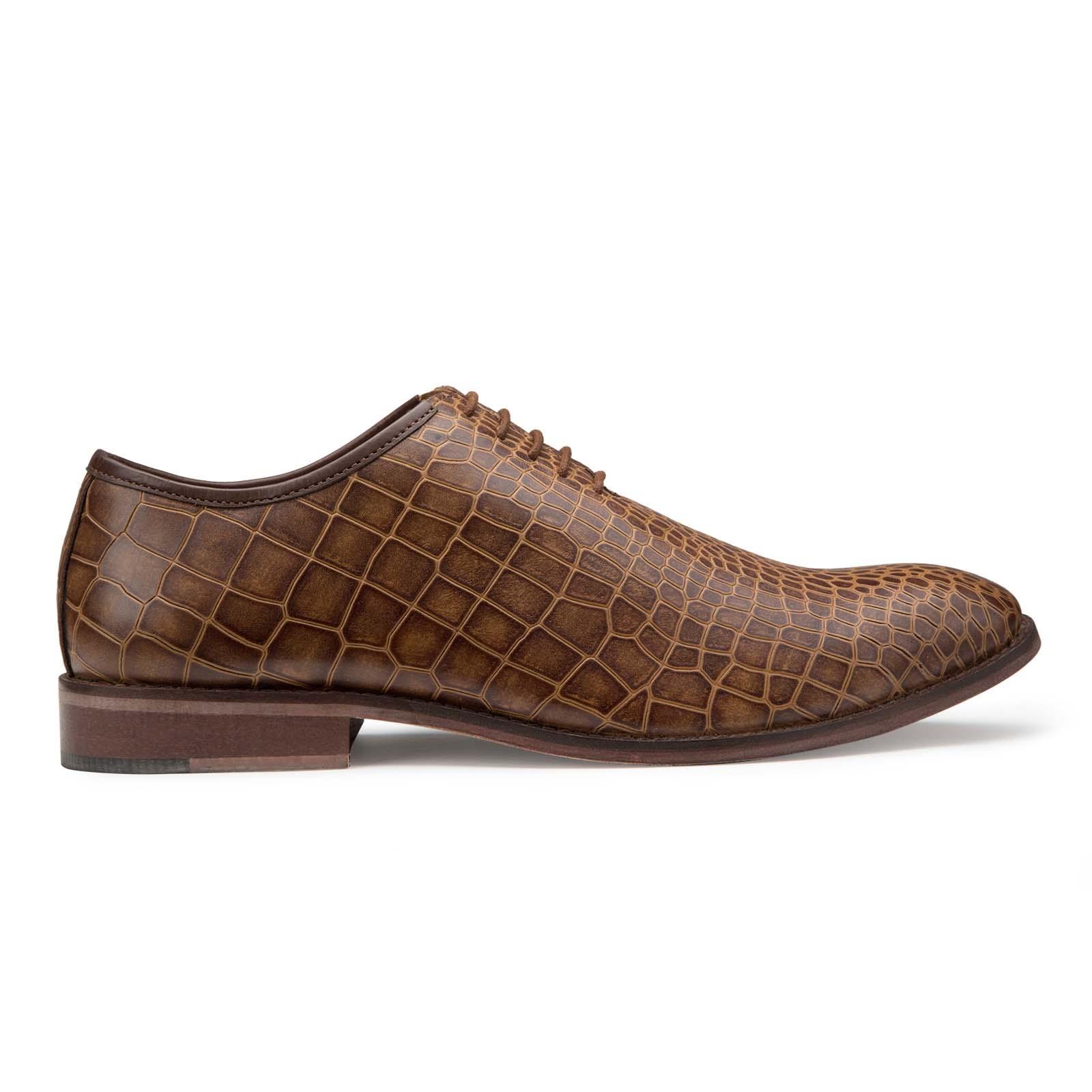 Tan Croc Textured Oxfords shoes