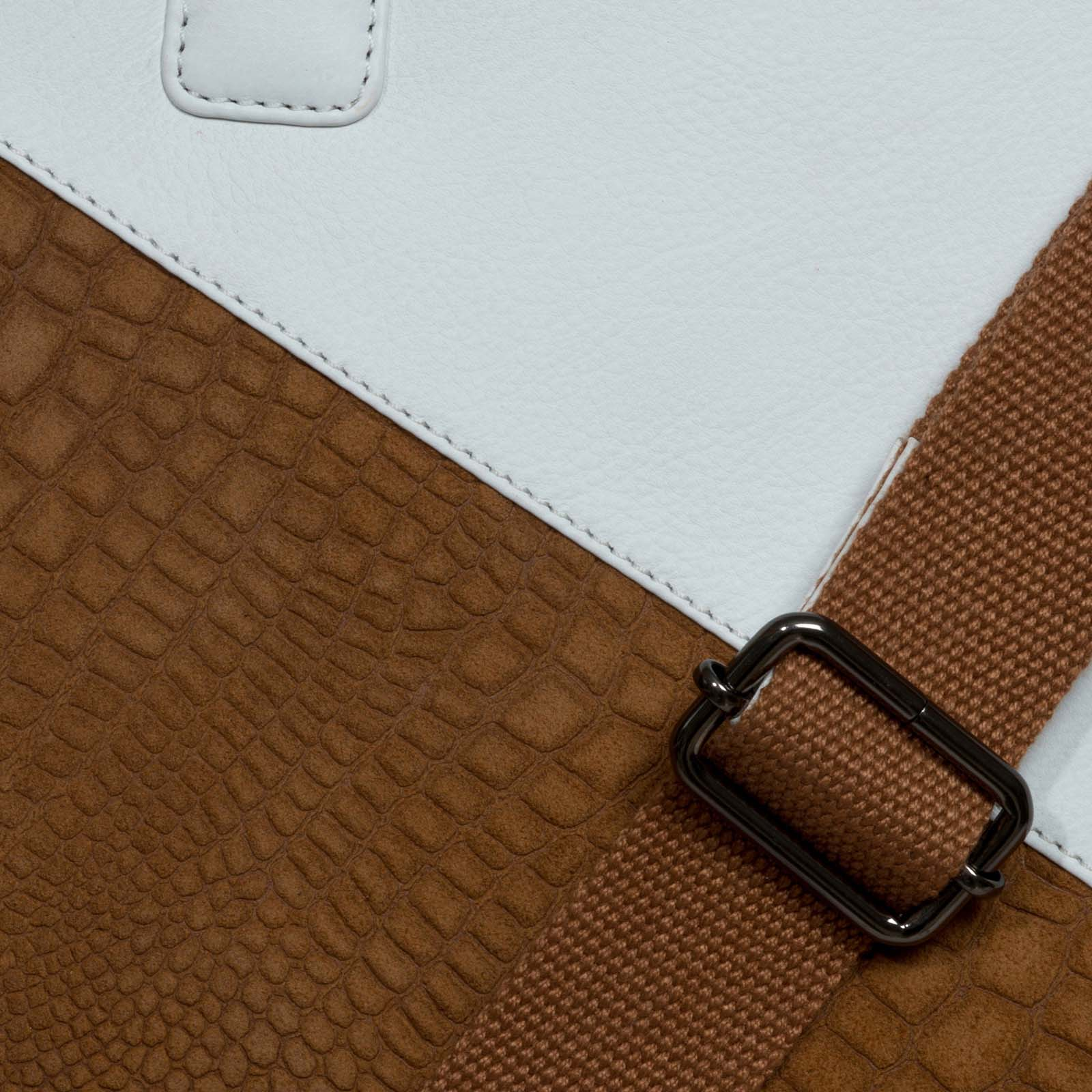 White-Tan Leather Portfolio Bag