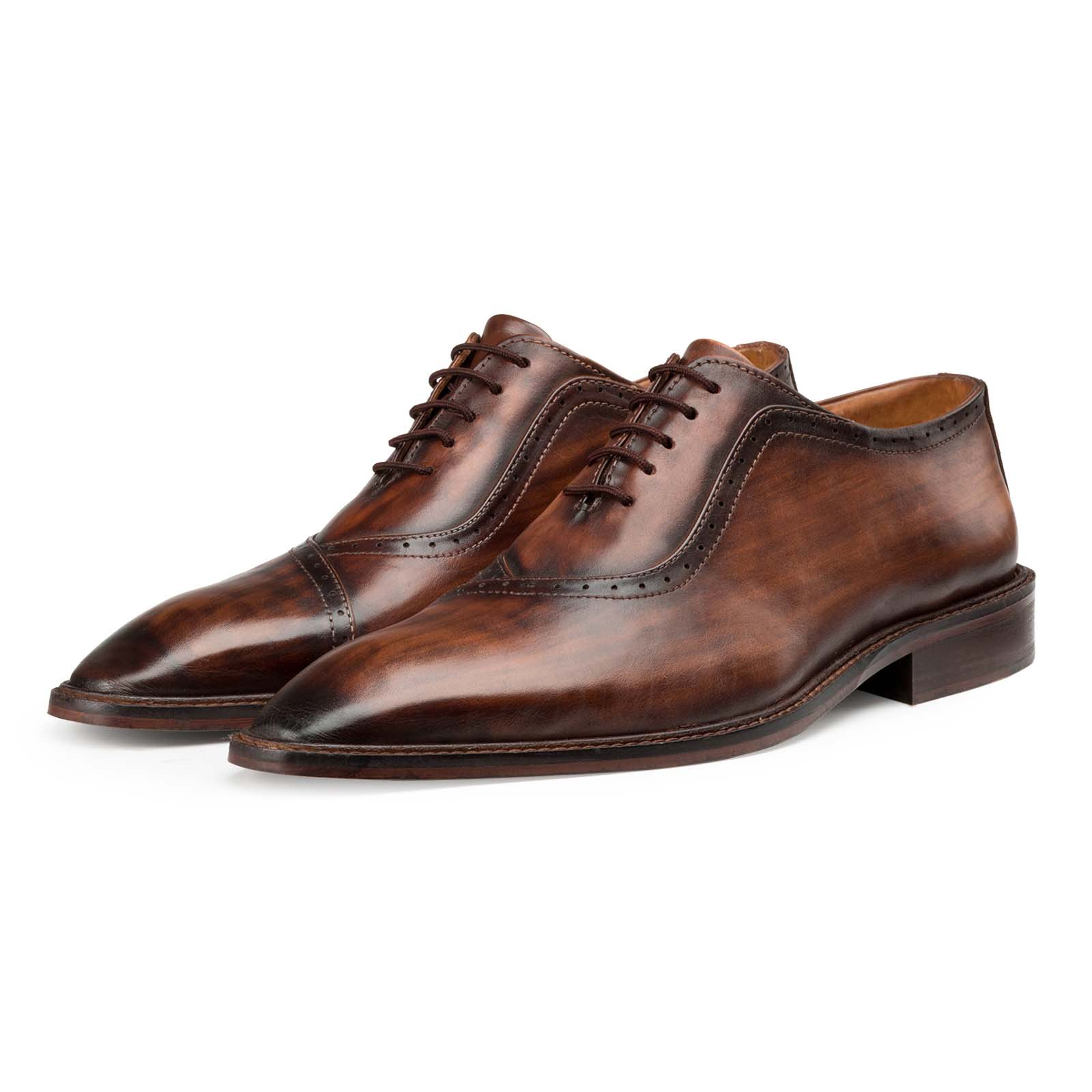 Wooden-Finish Brown Oxford