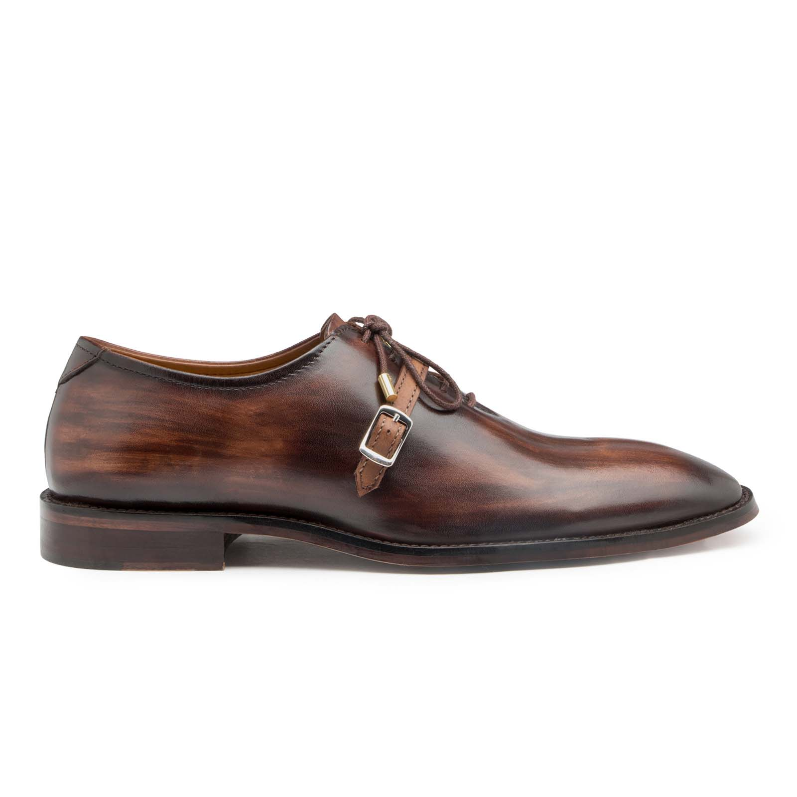 Thin-Strap Dark Brown Wooden Oxfords