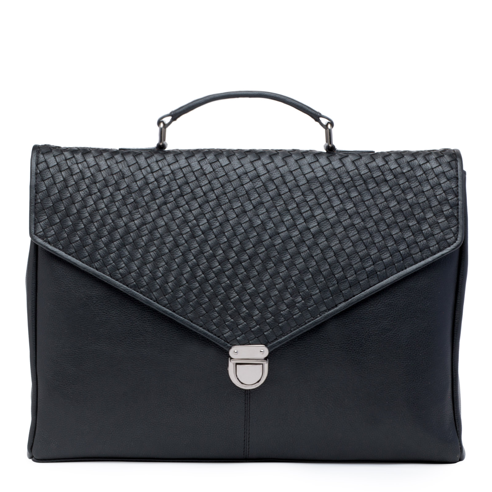 Black Genuine Leather Weave Pattern Portfolio Bag
