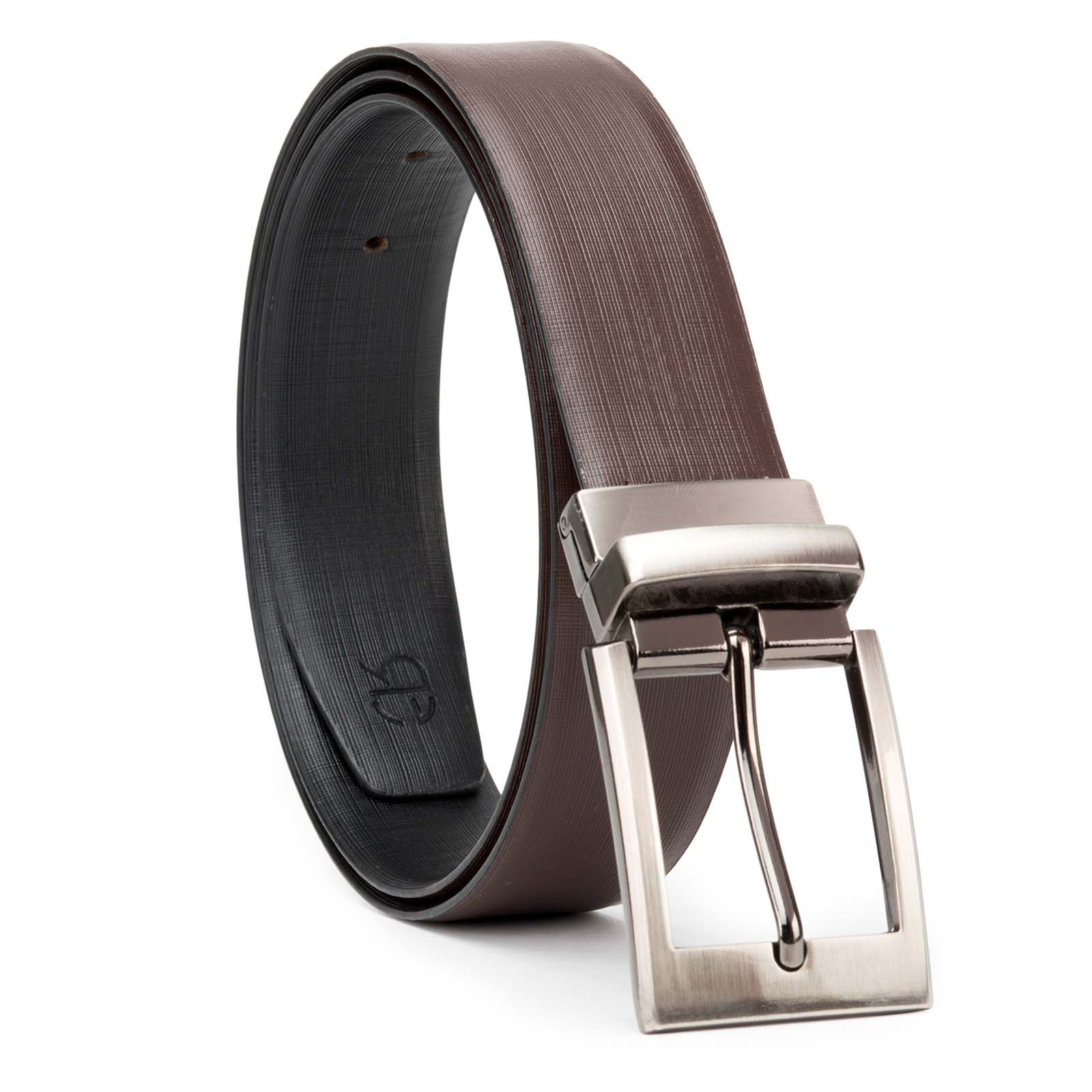 Black and Brown Cross Linner Design Leather Men's Formal Belts