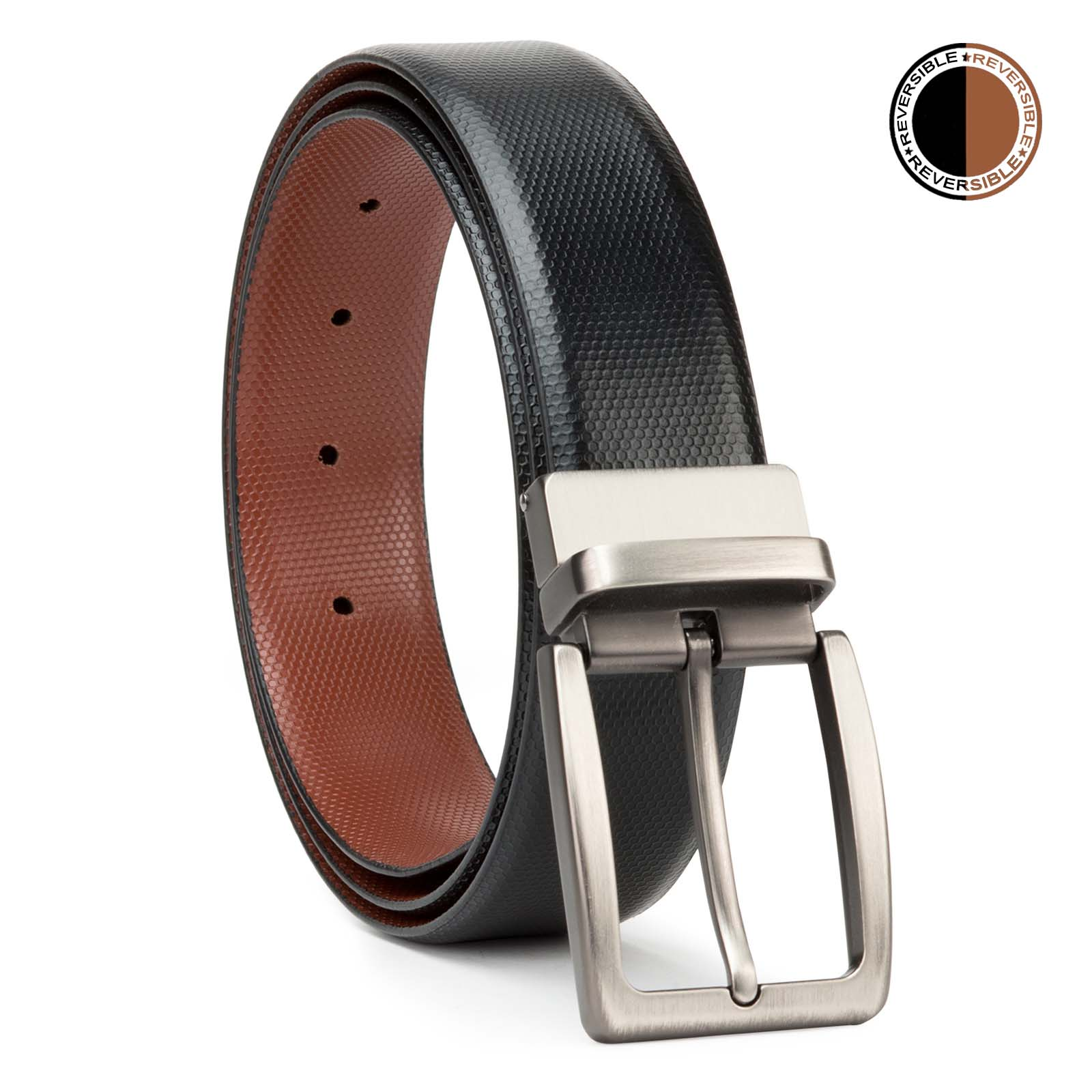 Black and Brown Lizard Design Leather Men