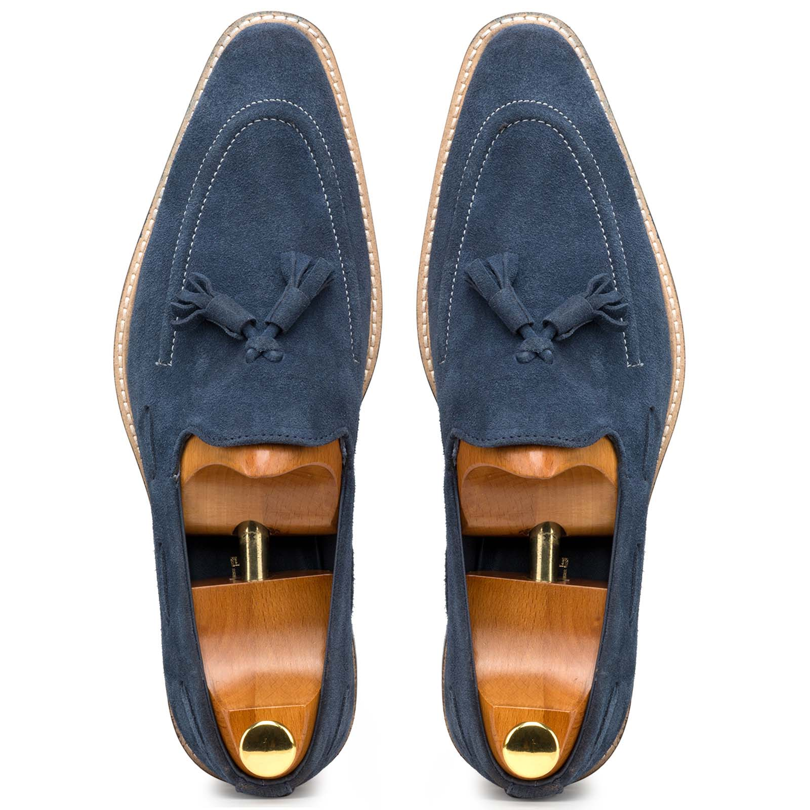 Navy Blue Suede Tassel Loafers