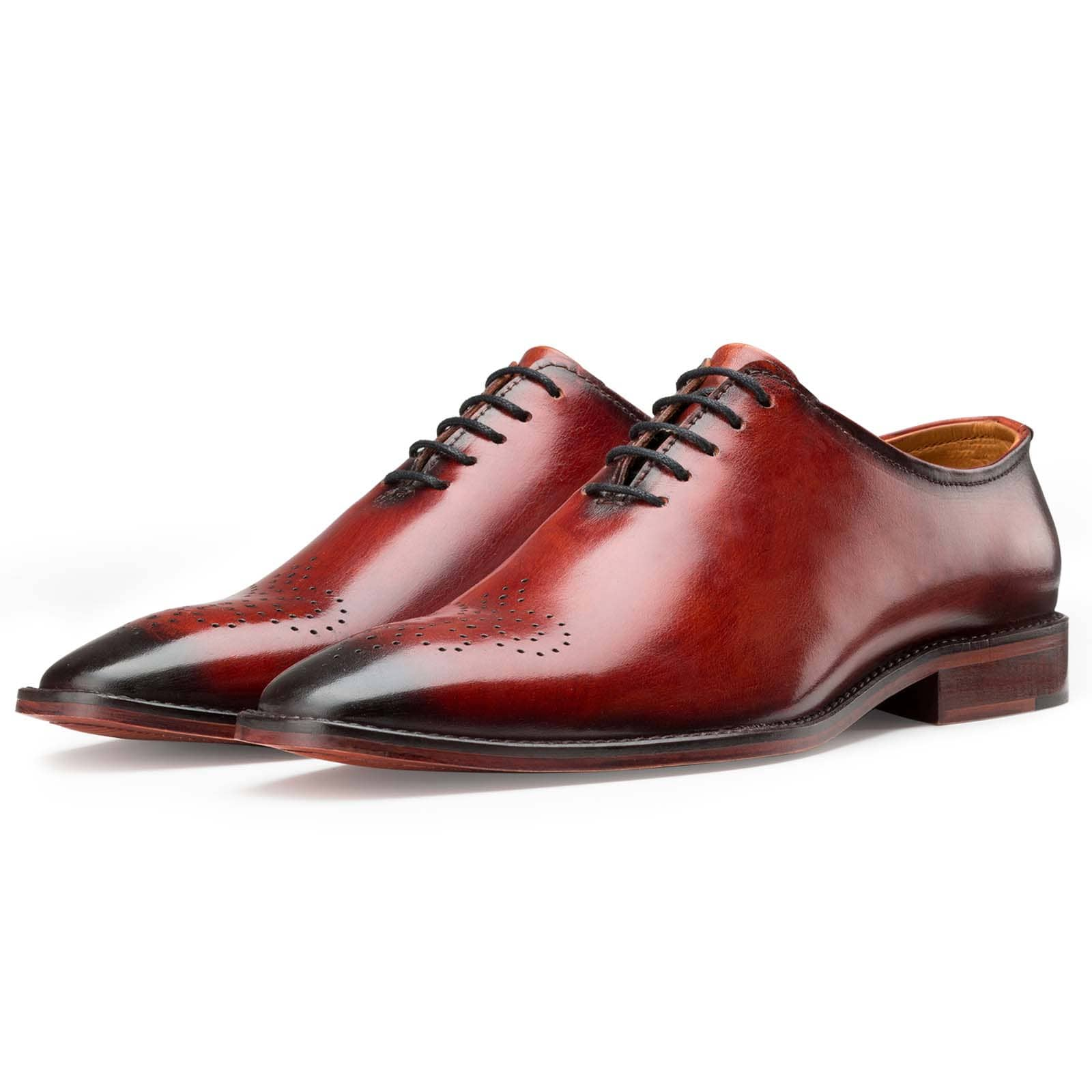 Red Medallion Wholecut Oxfords
